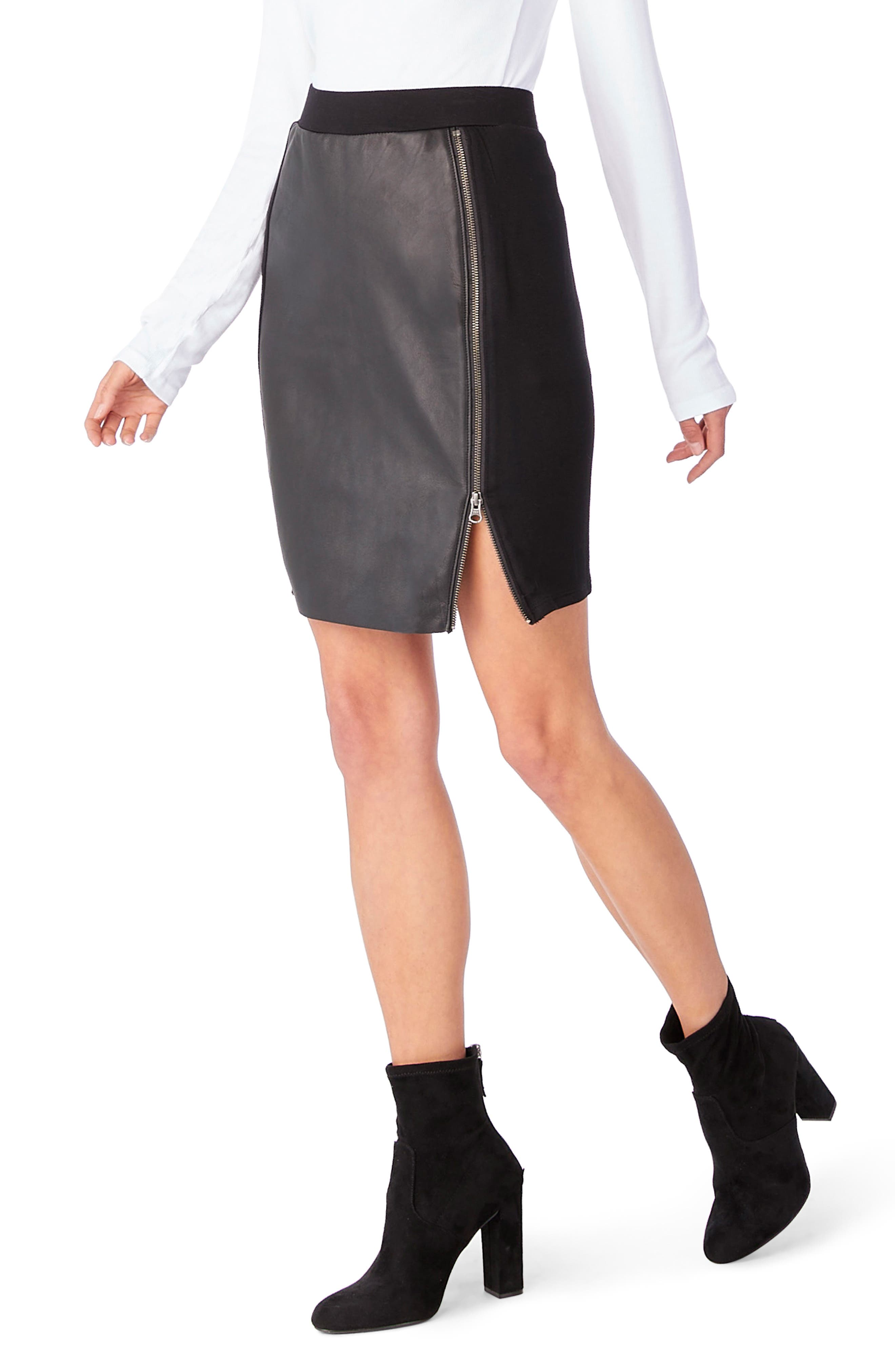Leather Contrast Zipper Skirt,                             Alternate thumbnail 3, color,                             001