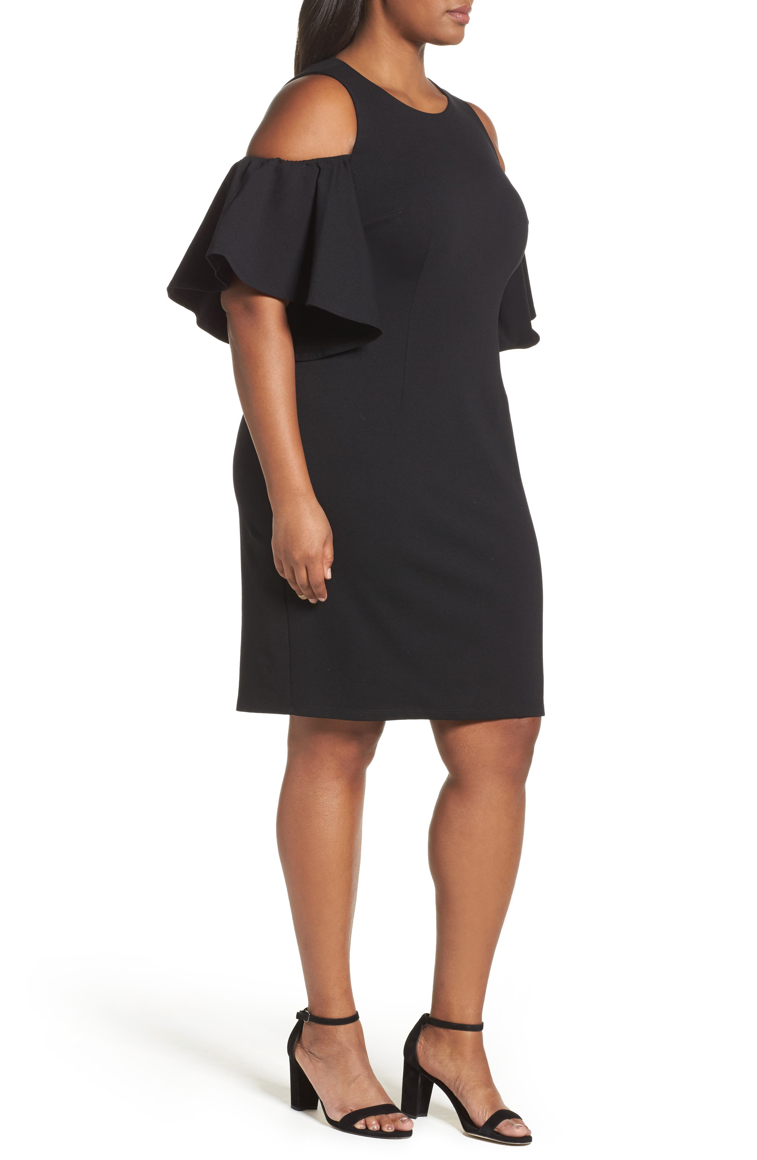 Cold Shoulder Sheath Dress,                             Alternate thumbnail 3, color,