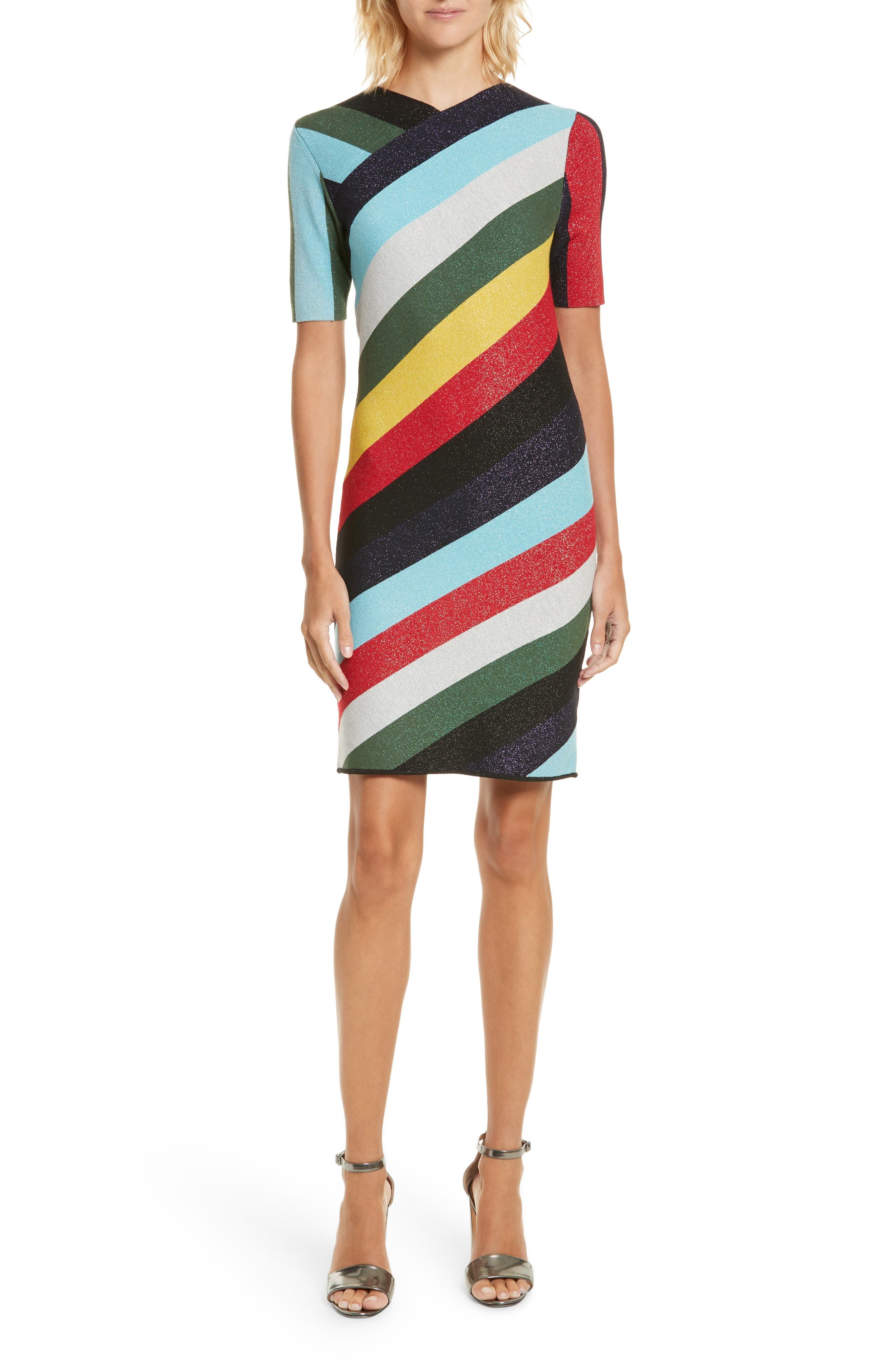 V-Neck Metallic Dress,                         Main,                         color, 008