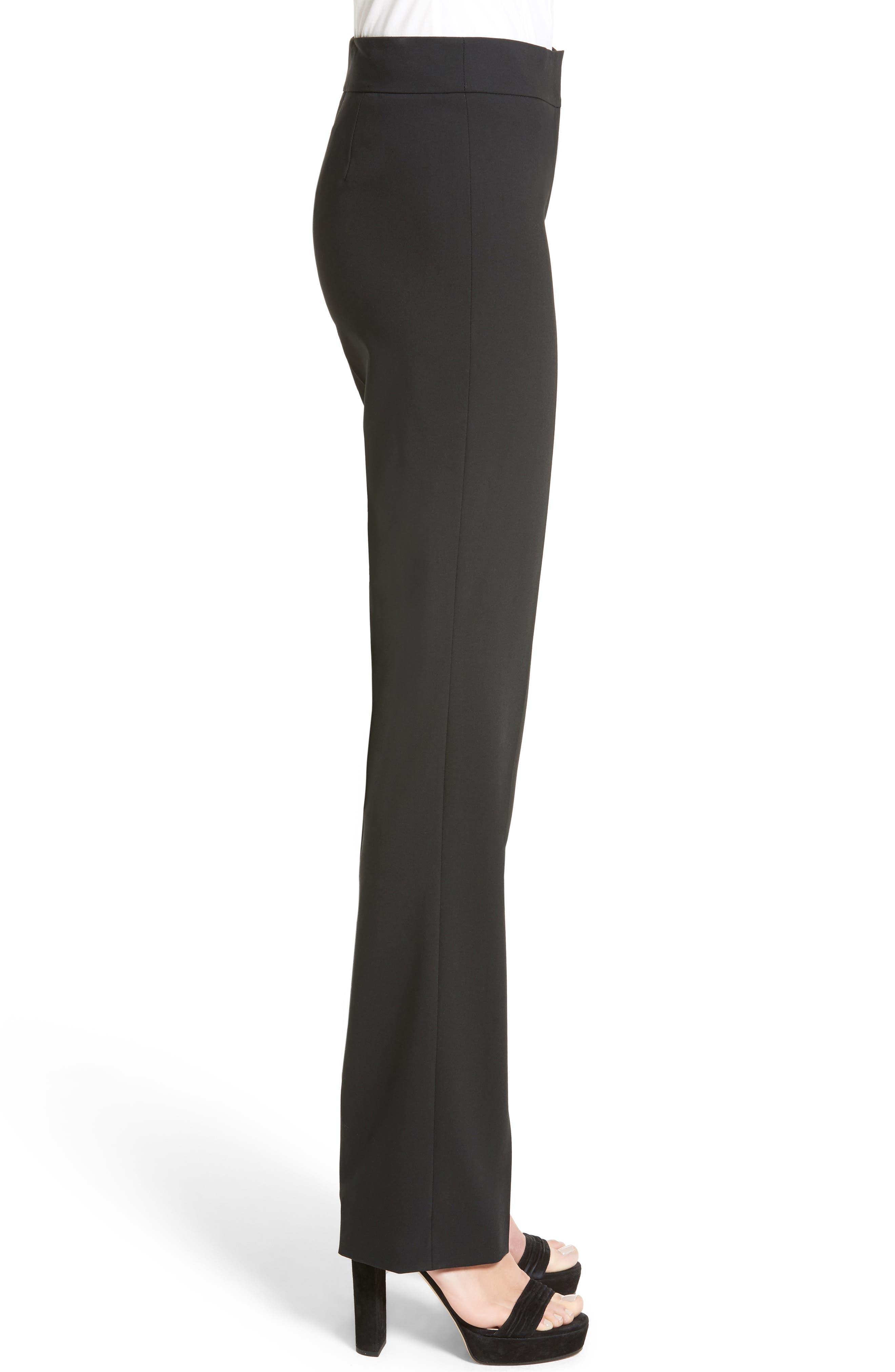 'Madison' Straight Leg Wool Trousers,                             Alternate thumbnail 3, color,                             001