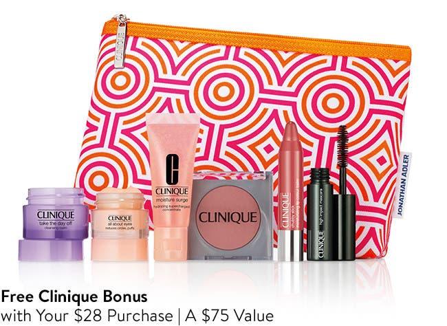 Free 7-Piece Bonus with $28 Clinique purchase. A $75 value.