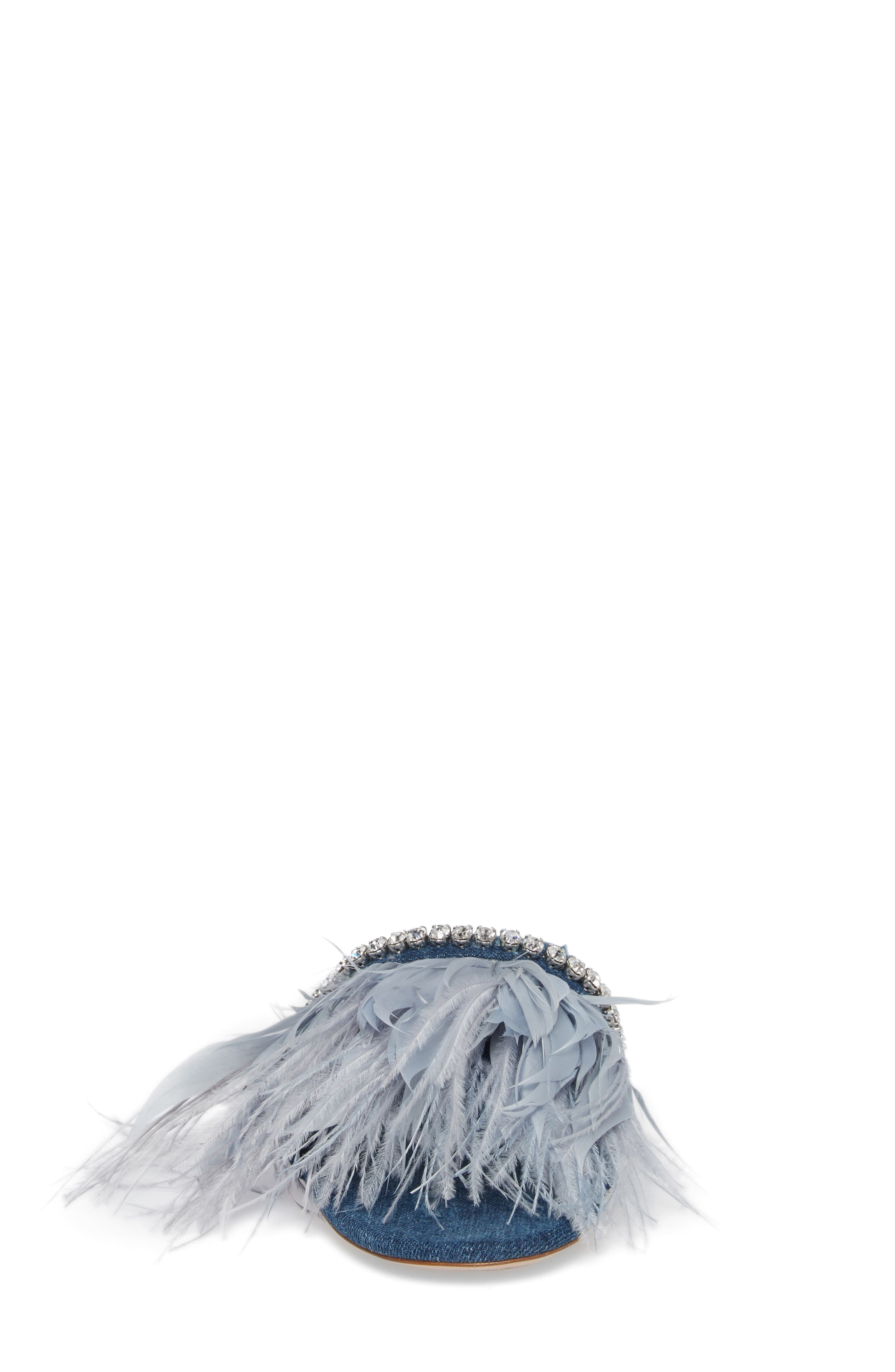 Feather Embellished Slide Sandal,                             Alternate thumbnail 4, color,                             400