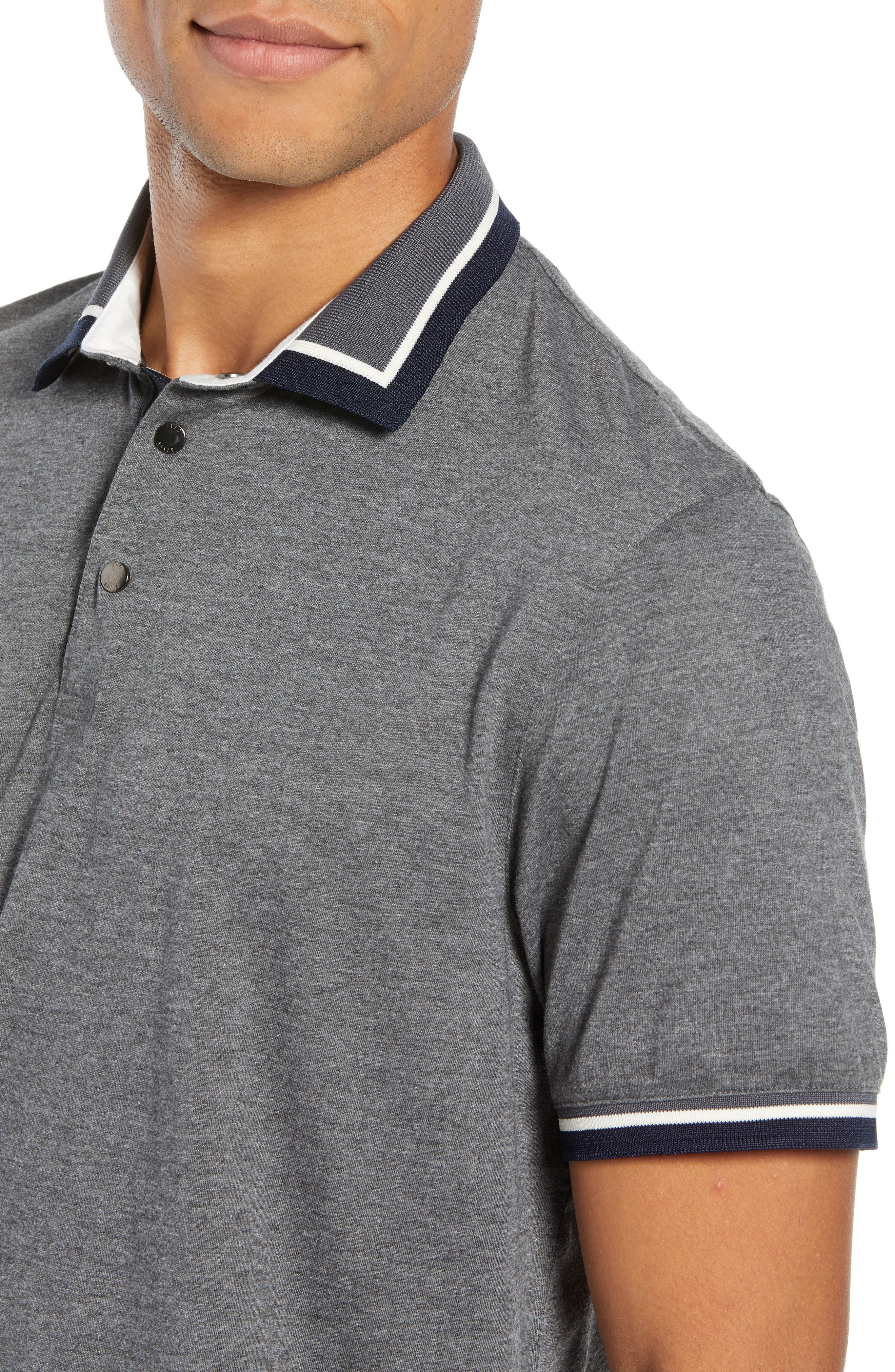 Slim Fit Gummy Polo,                             Alternate thumbnail 4, color,                             CHARCOAL
