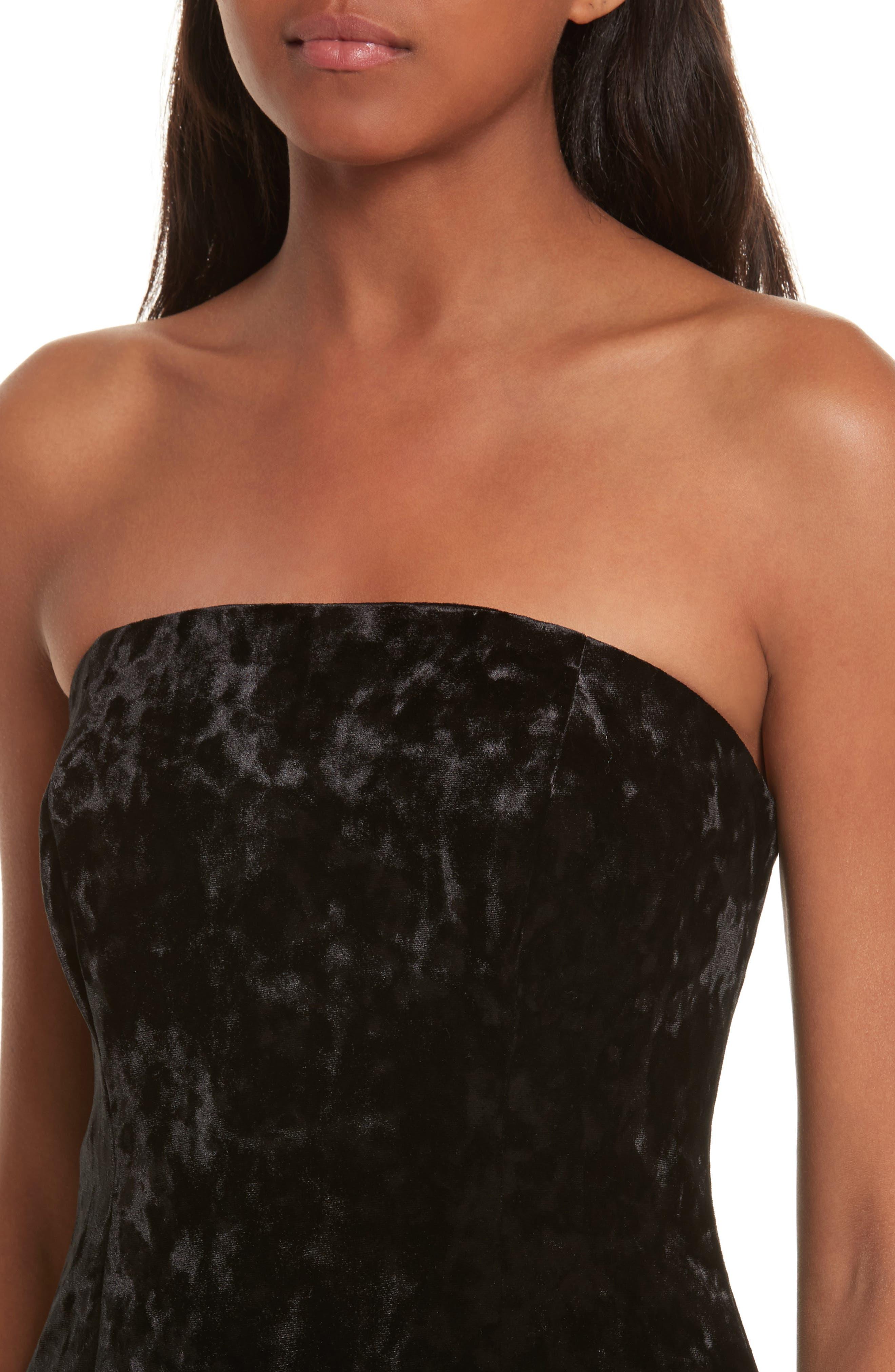 Strapless Velvet Dress,                             Alternate thumbnail 4, color,                             001