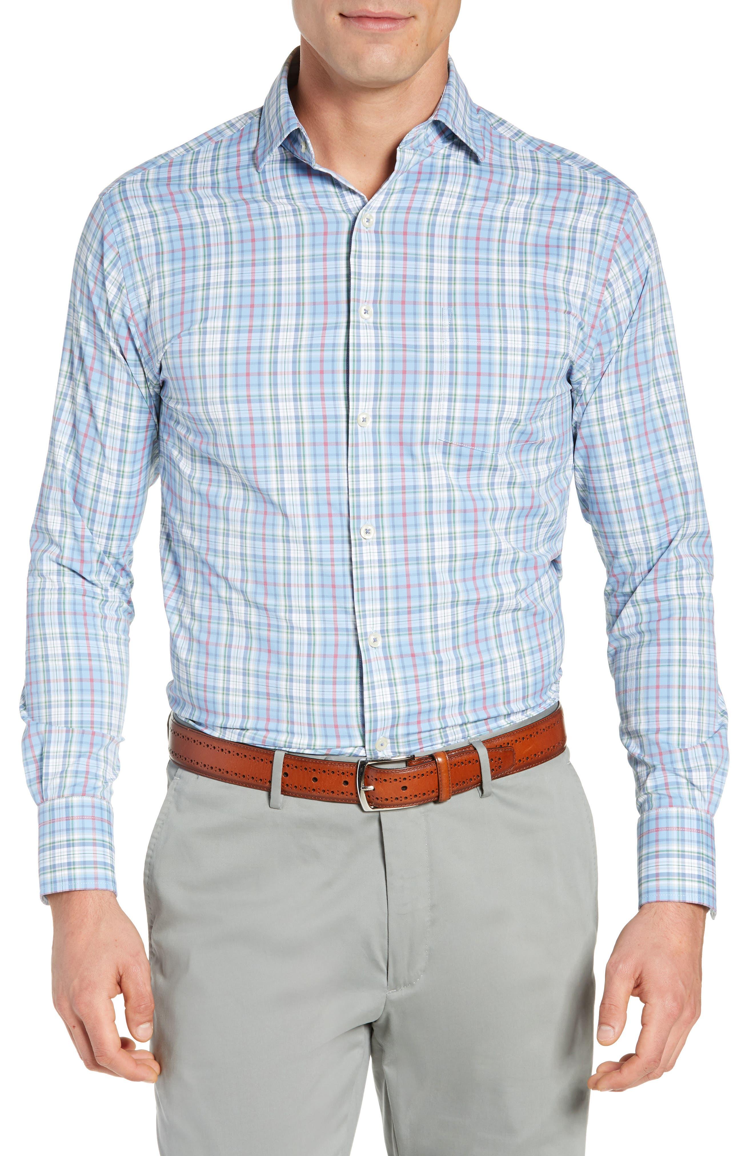Wyatt Regular Fit Plaid Performance Sport Shirt,                         Main,                         color, 400
