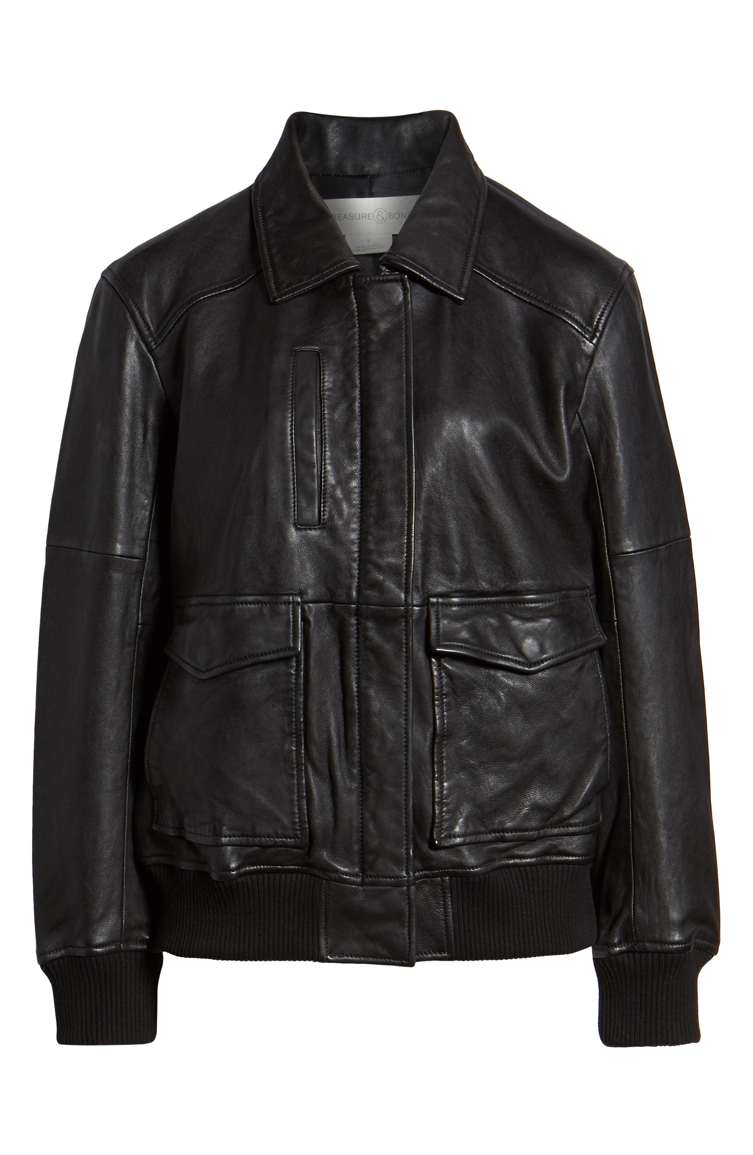 Leather Aviator Jacket,                             Alternate thumbnail 6, color,                             BLACK