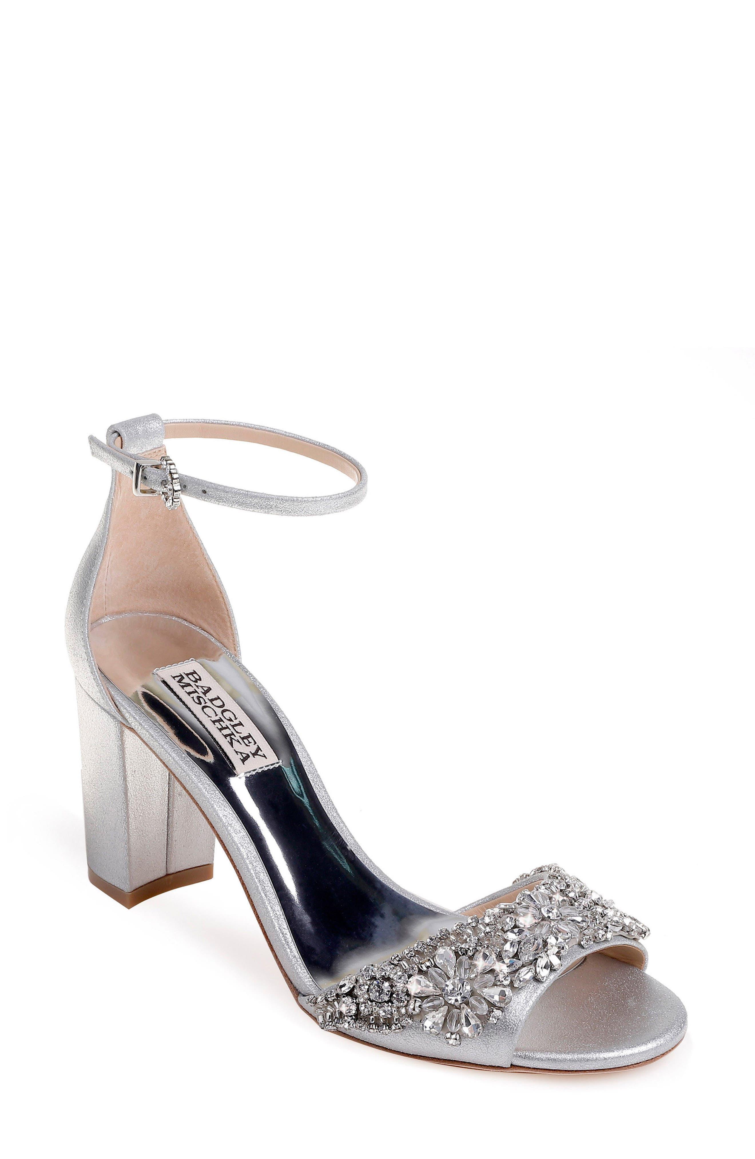 Hines Embellished Block Heel Sandal,                         Main,                         color, SILVER METALLIC SUEDE