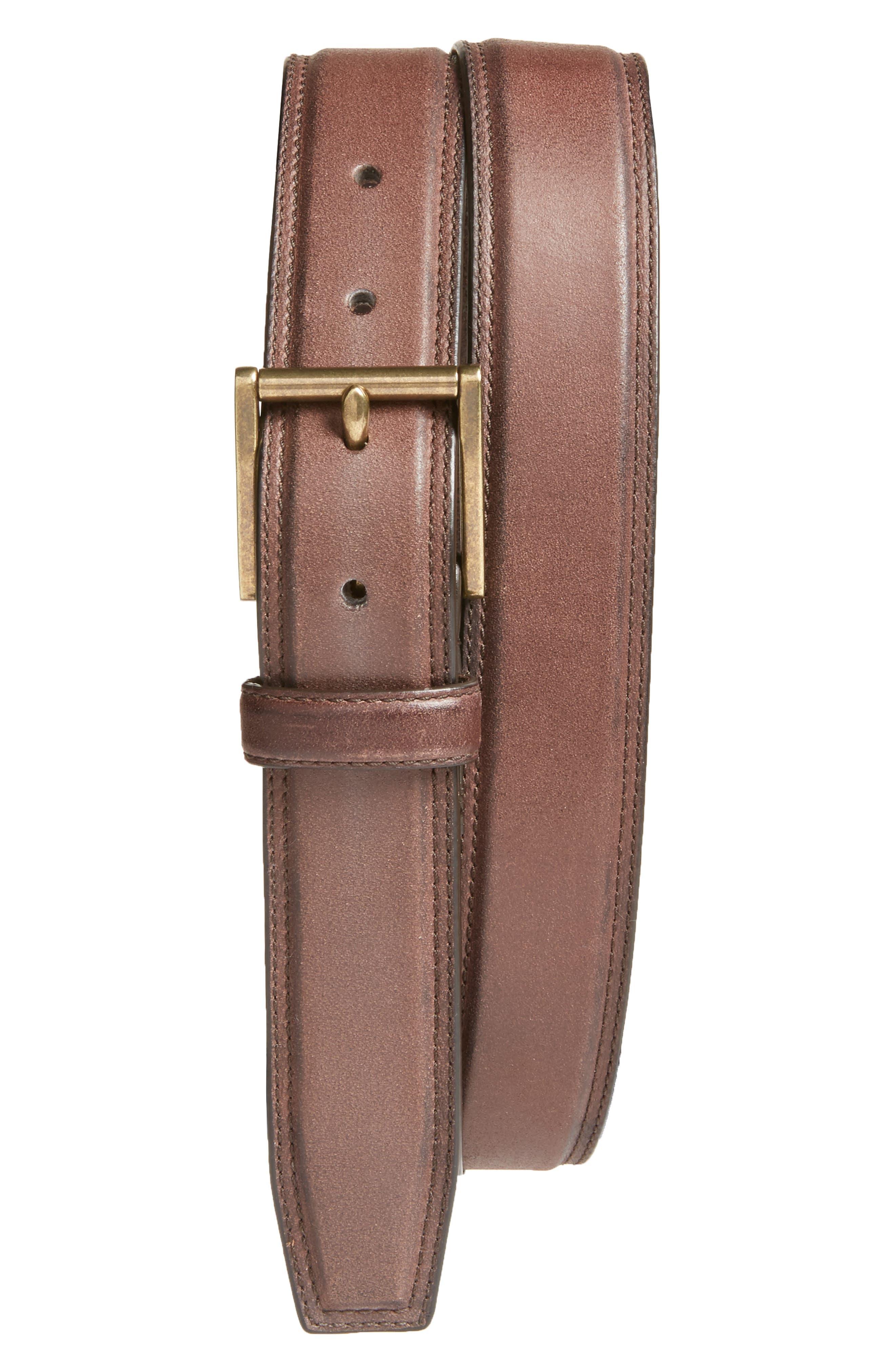 Leather Belt,                         Main,                         color, CHESTNUT