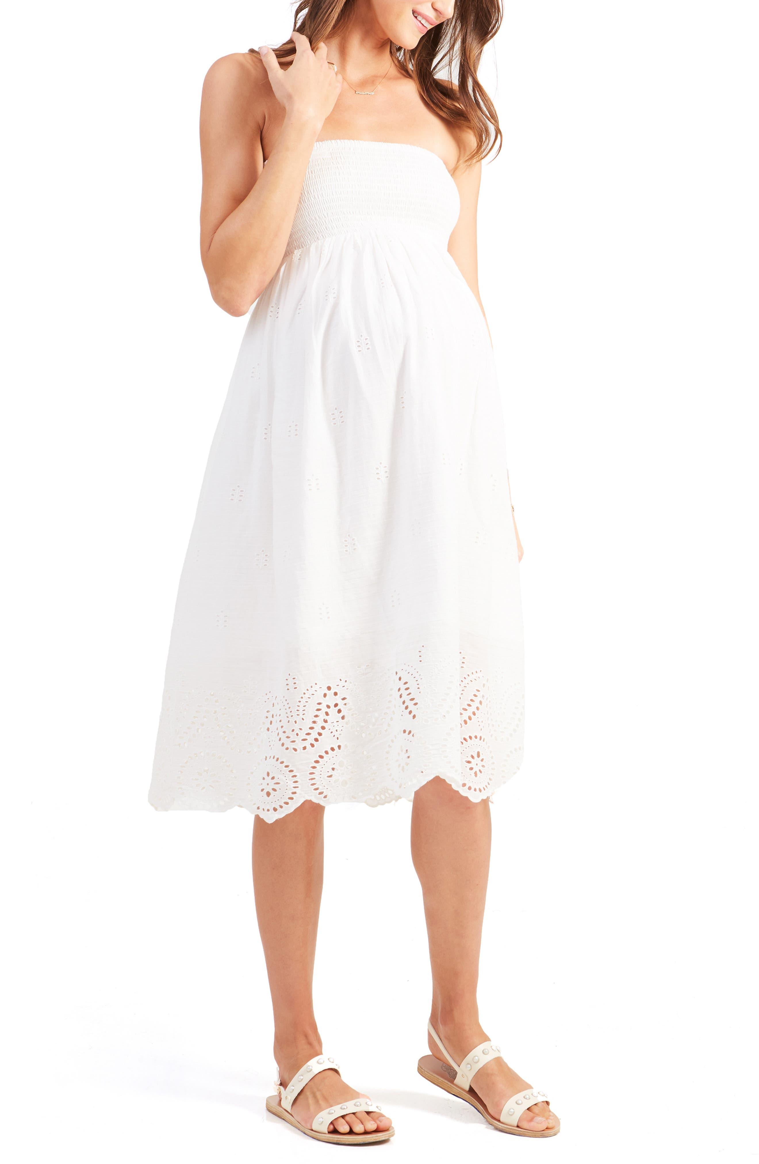 Ingrid & Isabel Smocked Maternity Dress, White