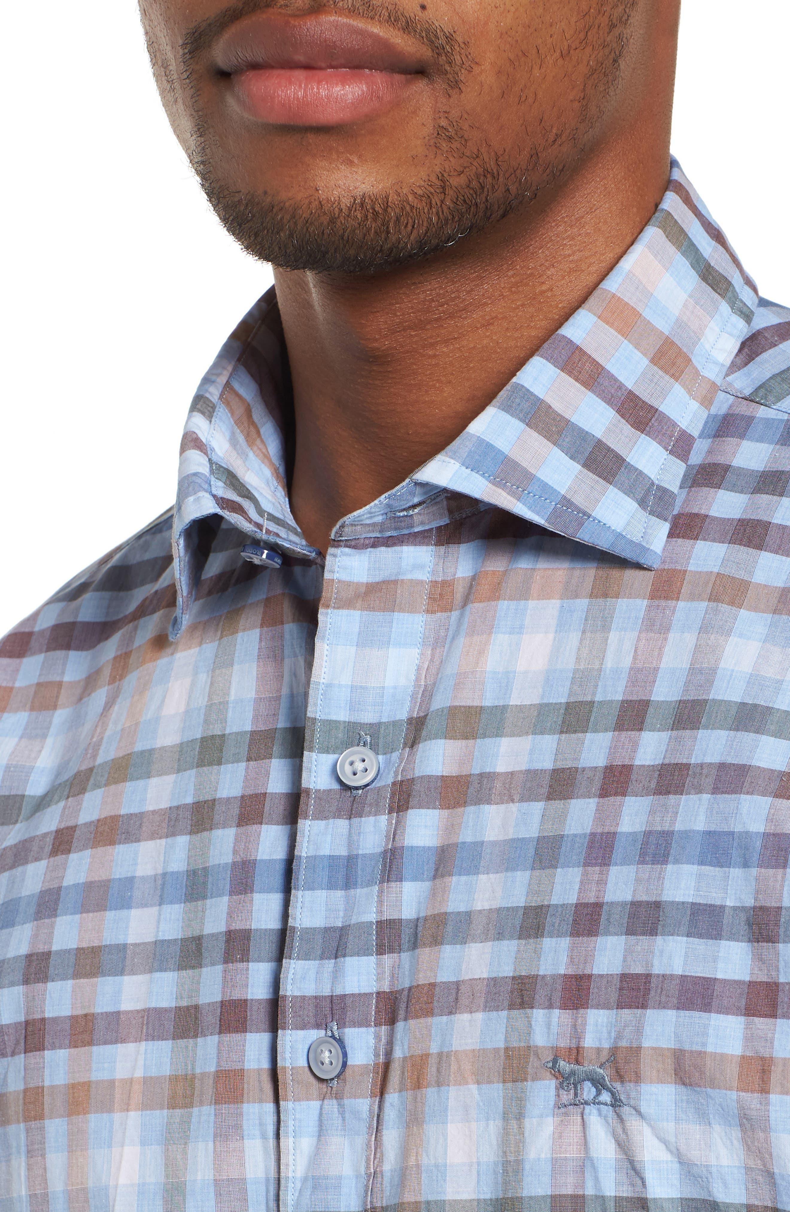 Rothesay Regular Fit Check Sport Shirt,                             Alternate thumbnail 4, color,                             STONEWASH