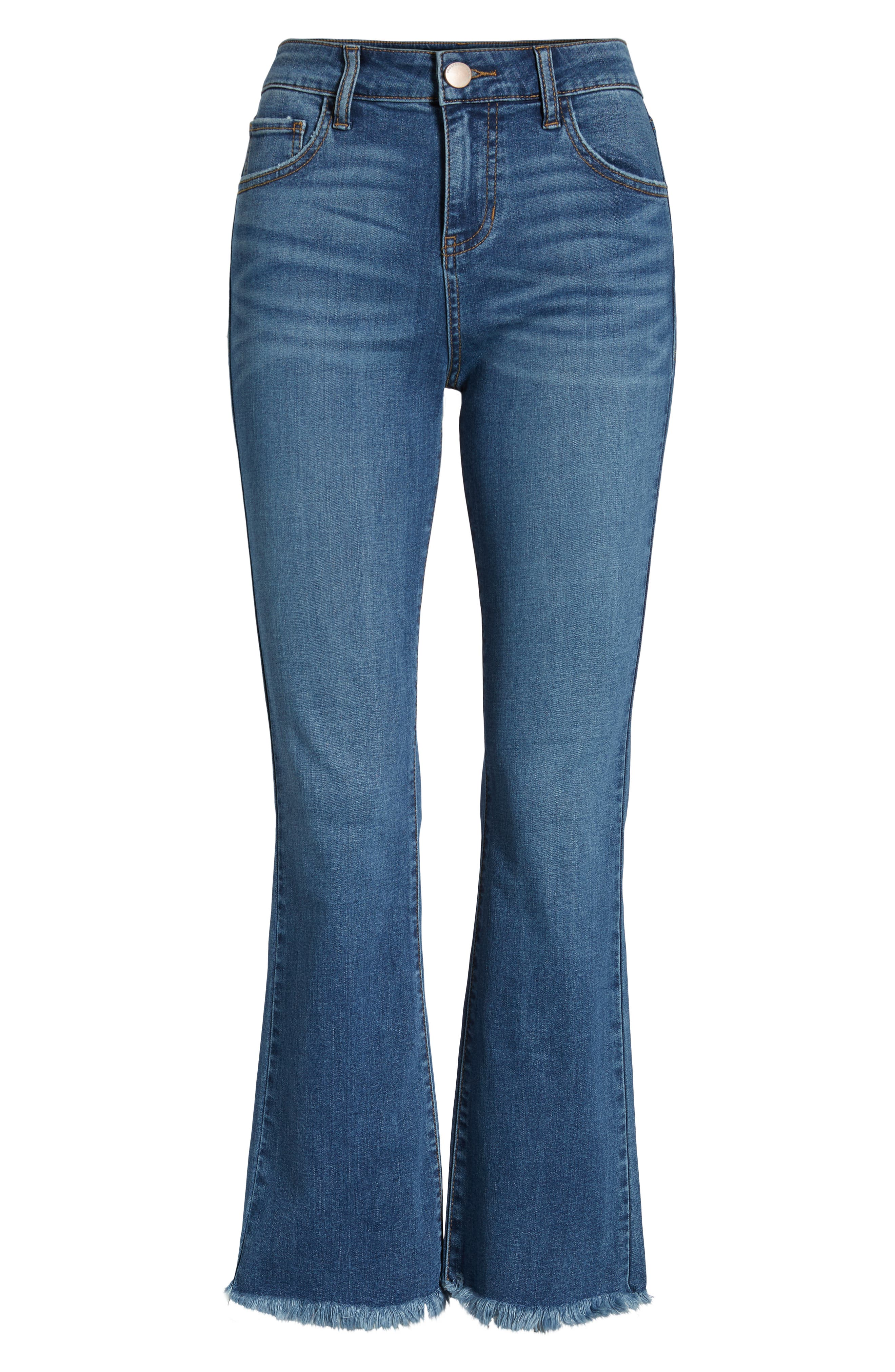 High Waist Crop Flare Jeans,                             Alternate thumbnail 7, color,                             COOL GIRL MED WASH