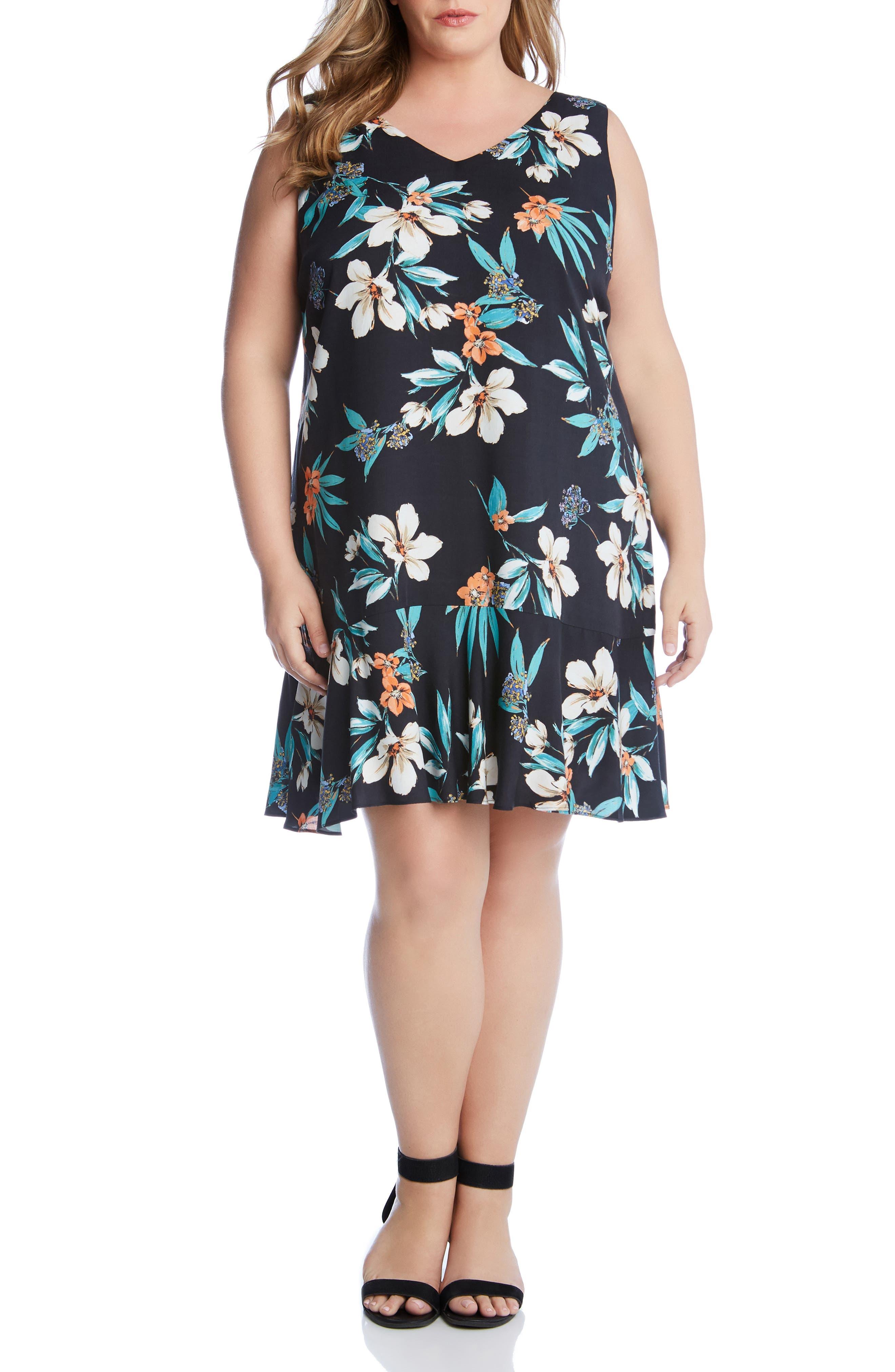 Plus Size Karen Kane Floral Ruffle Hem Dress, Black