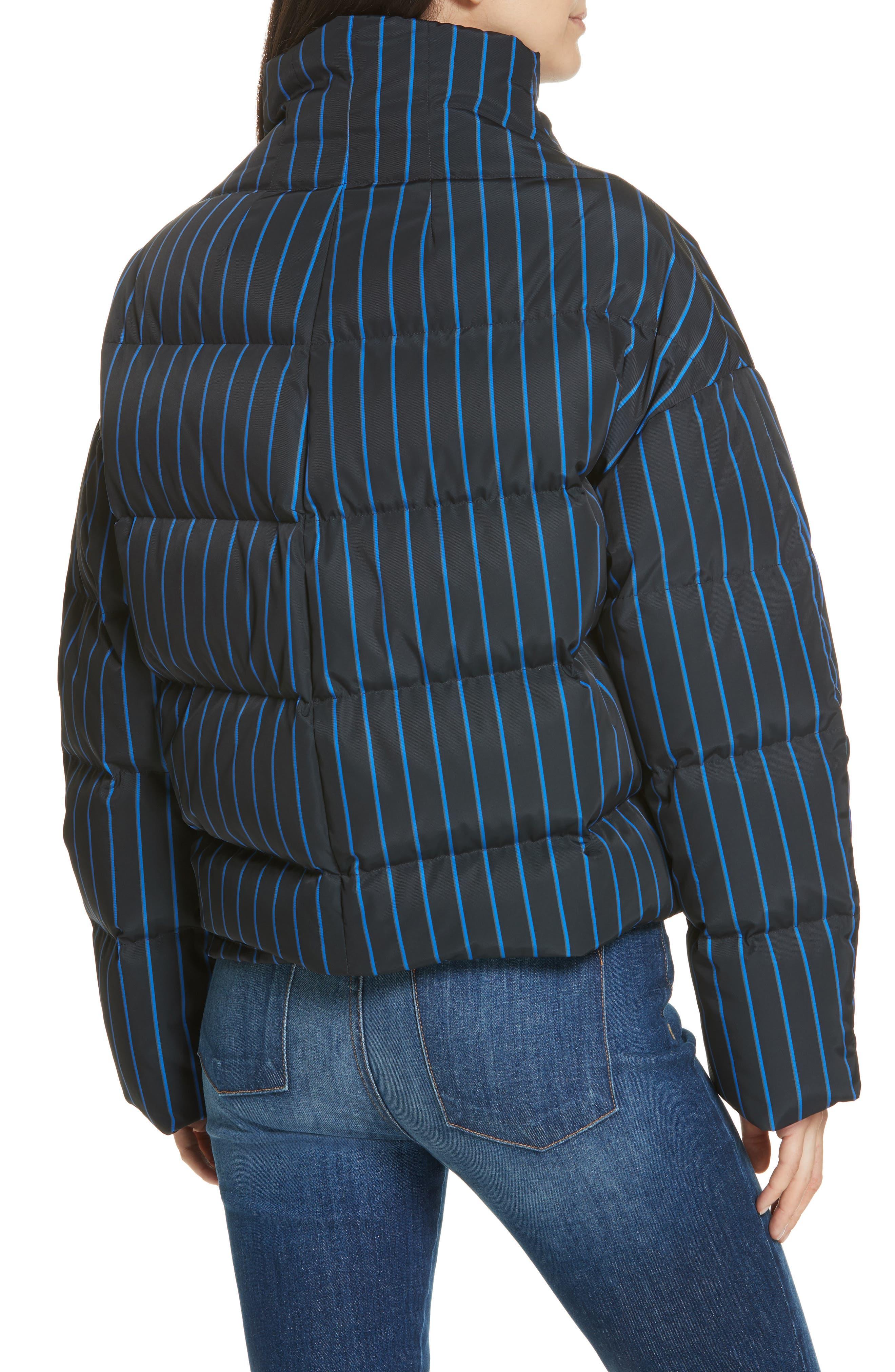 Asymmetrical Stripe Puffer Jacket,                             Alternate thumbnail 2, color,                             BLACK MULTI