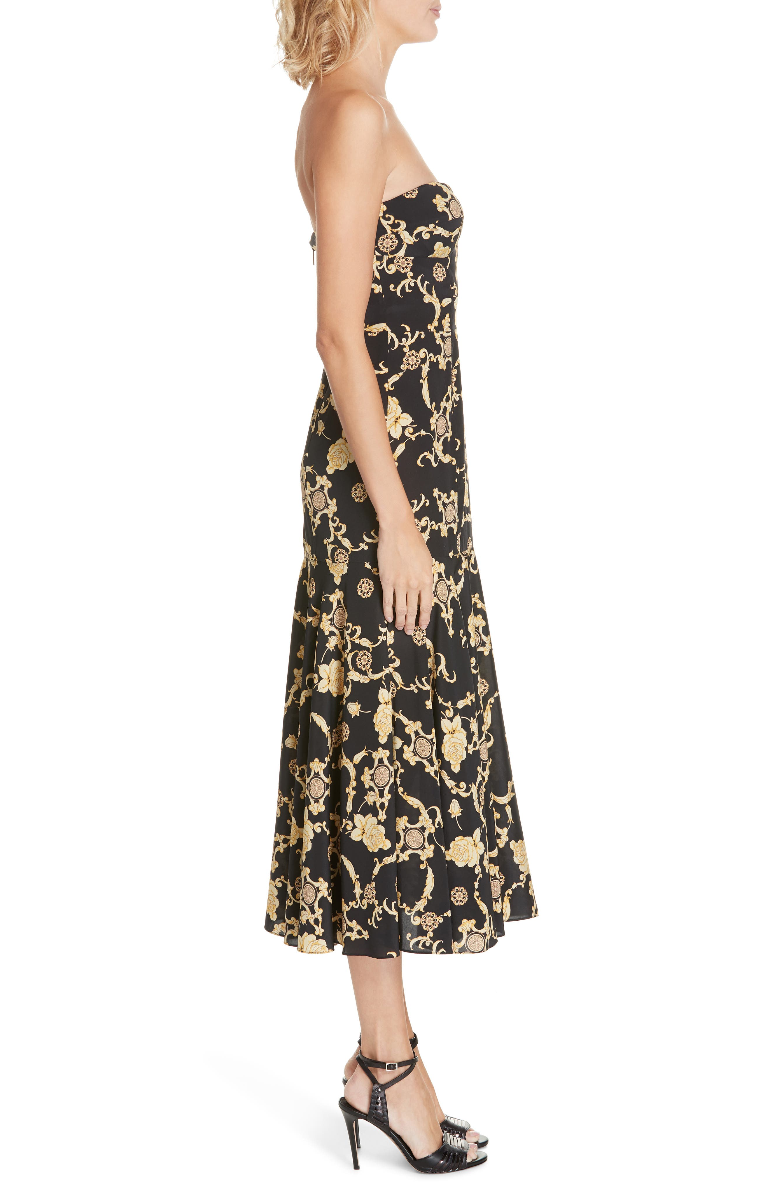 Annika Floral Print Strapless Stretch Silk Dress,                             Alternate thumbnail 3, color,                             BLACK/ GOLD