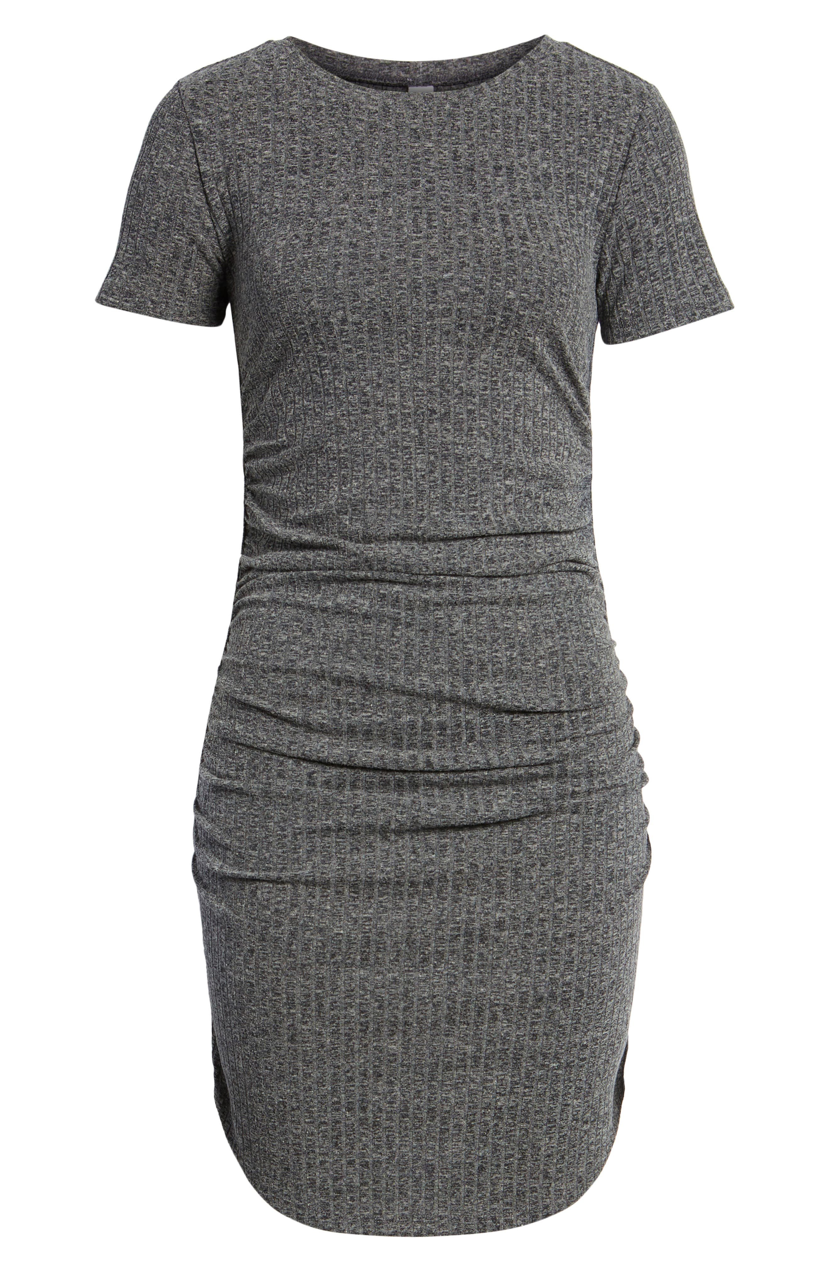 Ruched Ribbed Body-Con Dress,                             Alternate thumbnail 7, color,                             GREY MEDIUM CHARCOAL HEATHER
