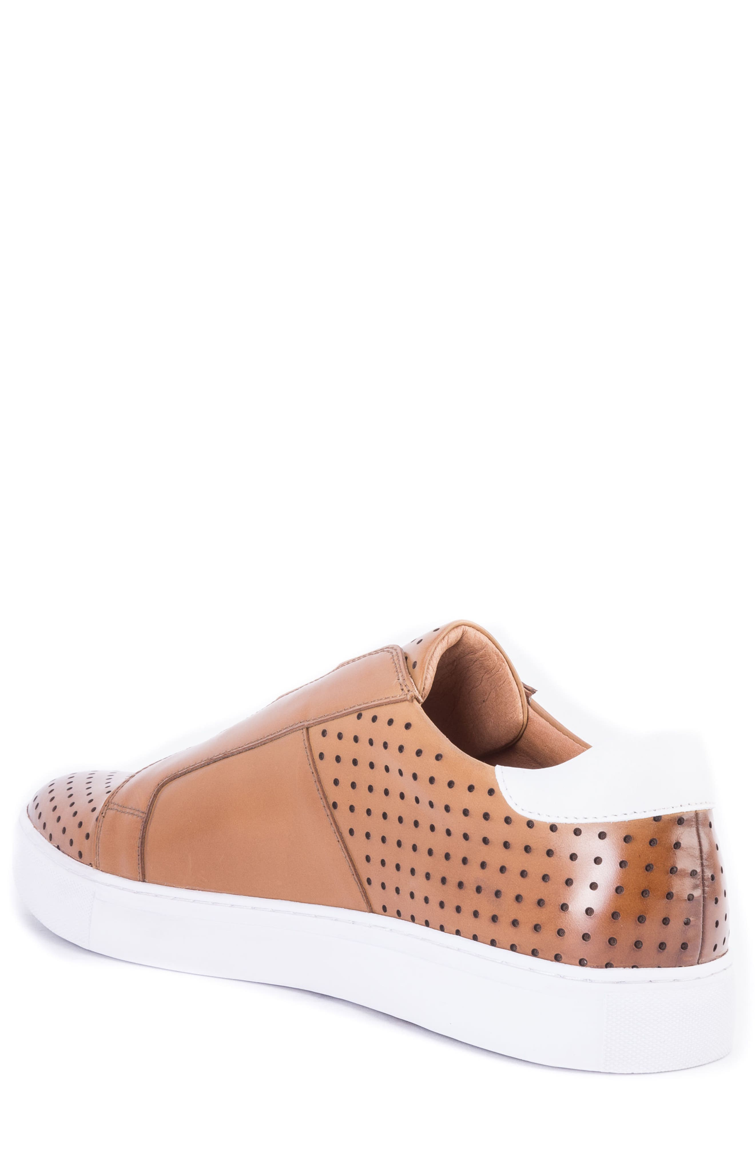 Rowley Perforated Laceless Sneaker,                             Alternate thumbnail 2, color,                             COGNAC LEATHER