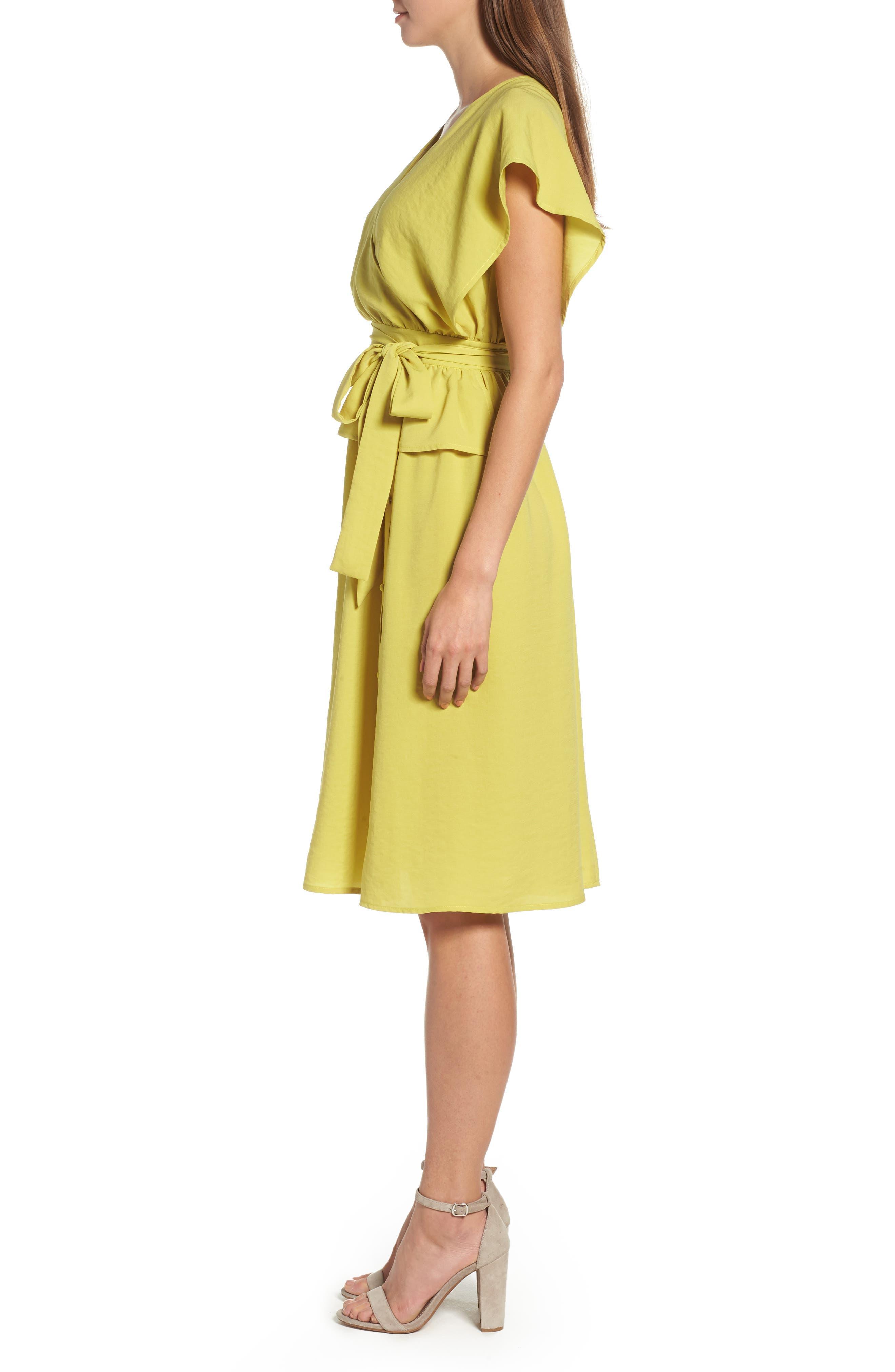 Wrap Midi Dress,                             Alternate thumbnail 3, color,