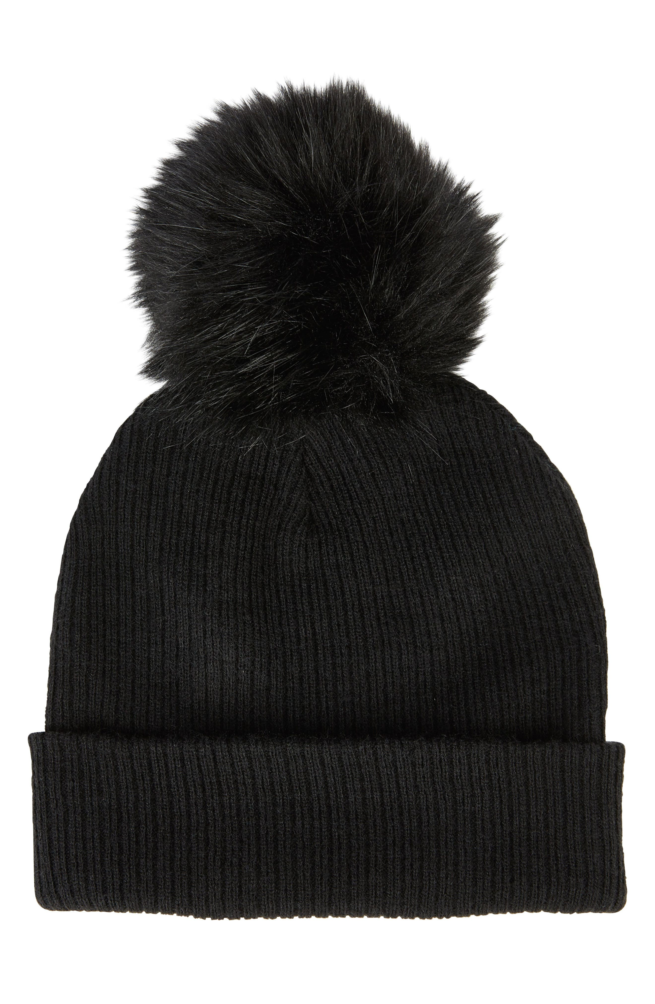 SOLE SOCIETY Faux Fur Pompom Beanie, Main, color, 001