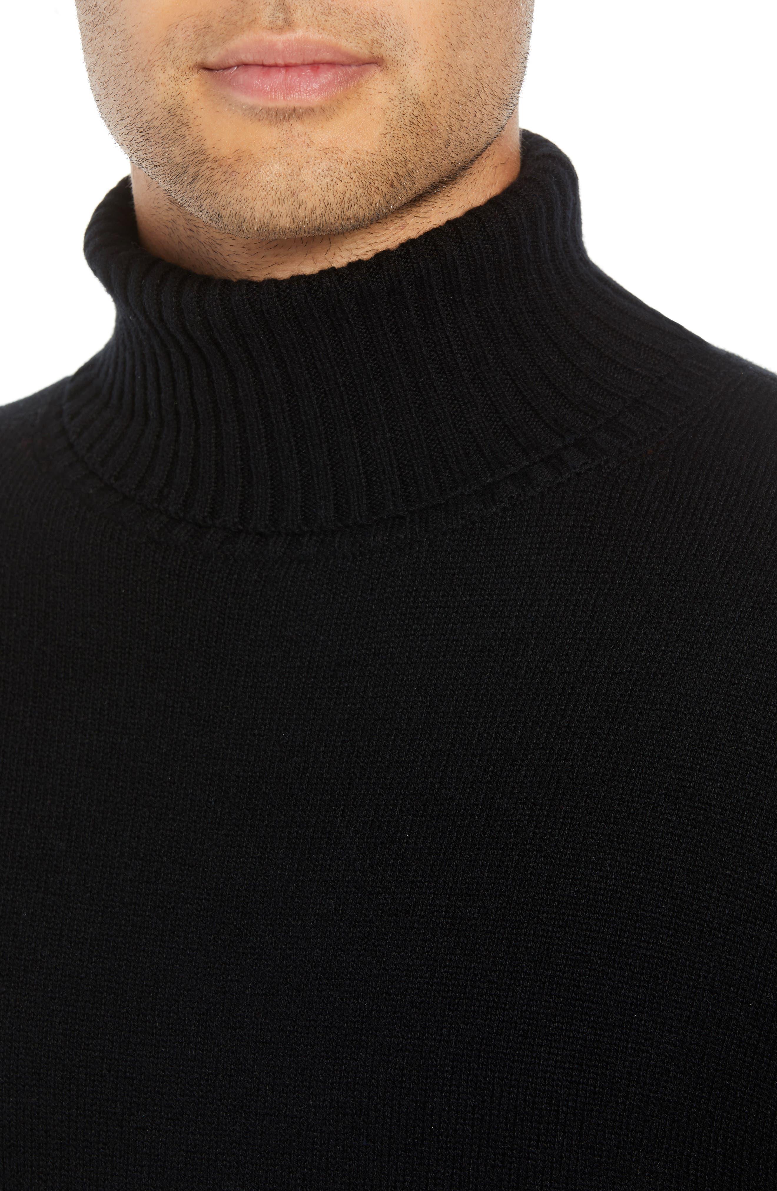 Wool & Cashmere Turtleneck Sweater,                             Alternate thumbnail 4, color,                             BLACK