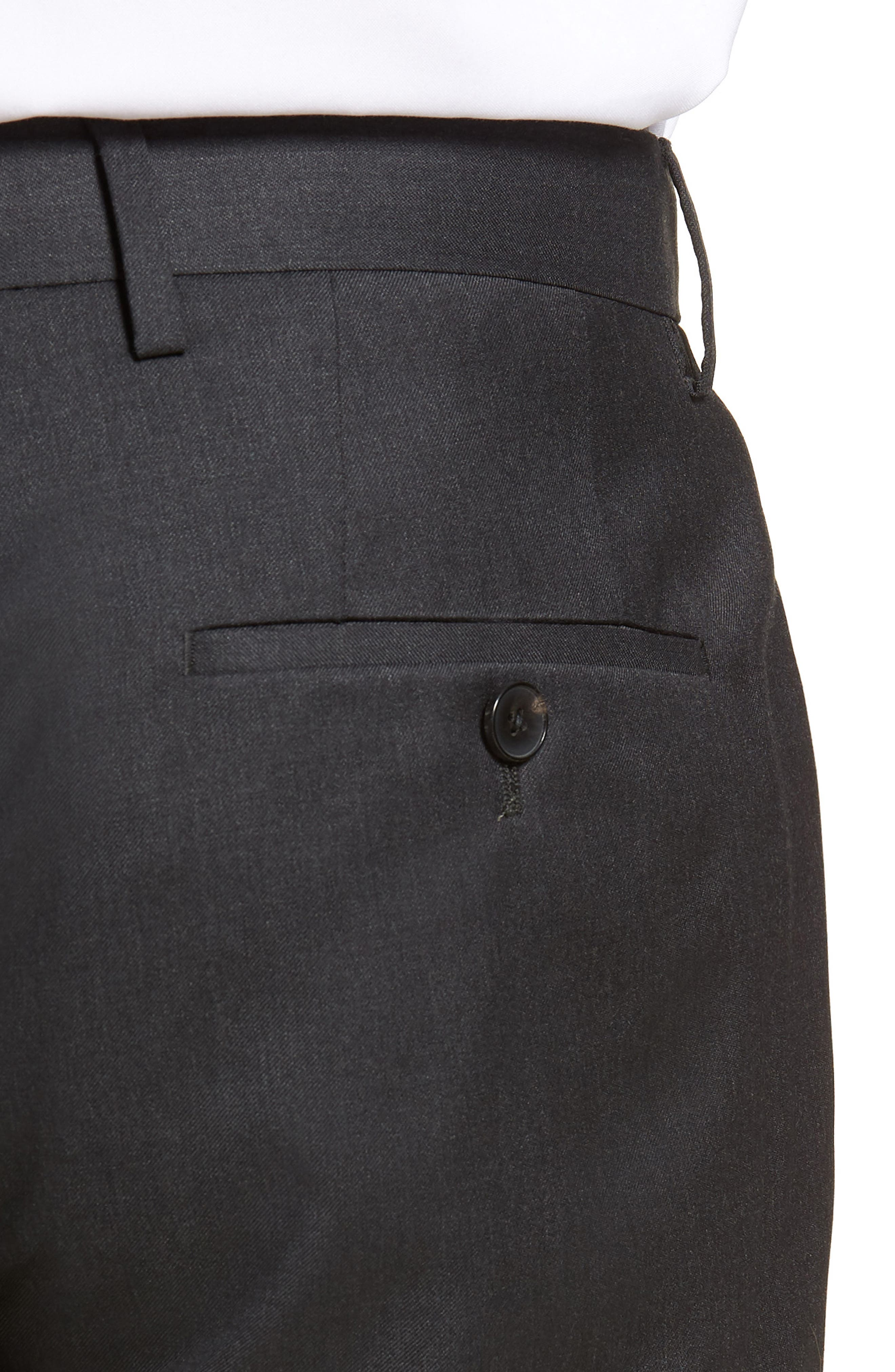 Gibson CYL Flat Front Solid Wool Trousers,                             Alternate thumbnail 4, color,                             DARK GREY