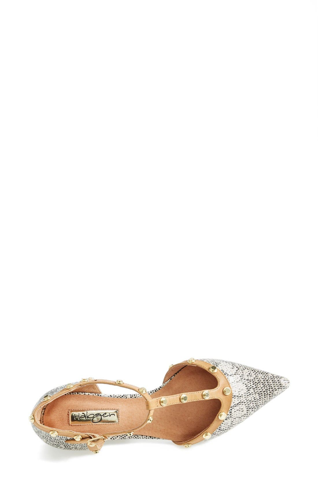 'Olson' Pointy Toe Studded T-Strap Flat,                             Alternate thumbnail 24, color,
