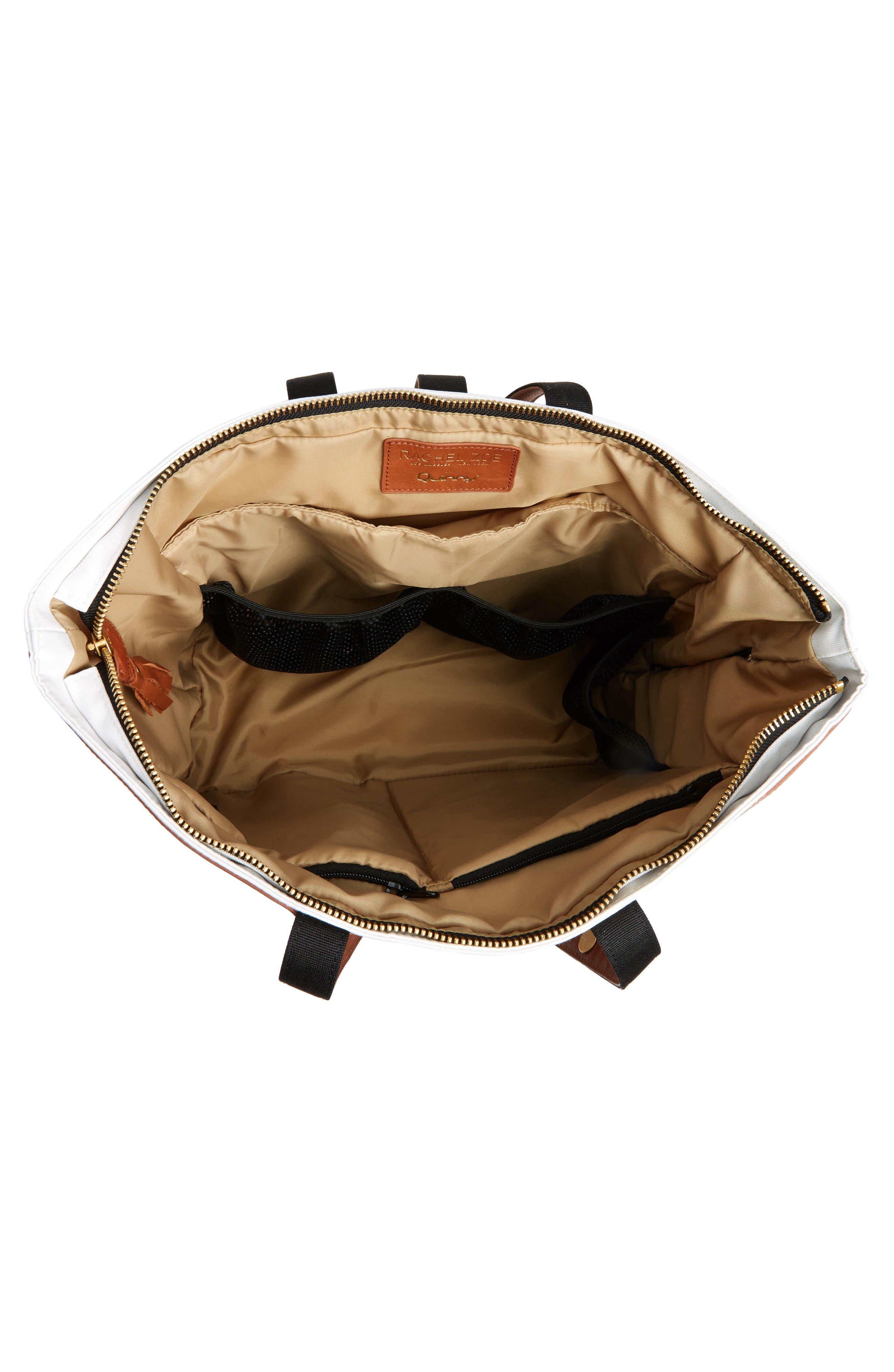 x Rachel Zoe 'Jet Set' Canvas Diaper Bag,                             Alternate thumbnail 4, color,                             100
