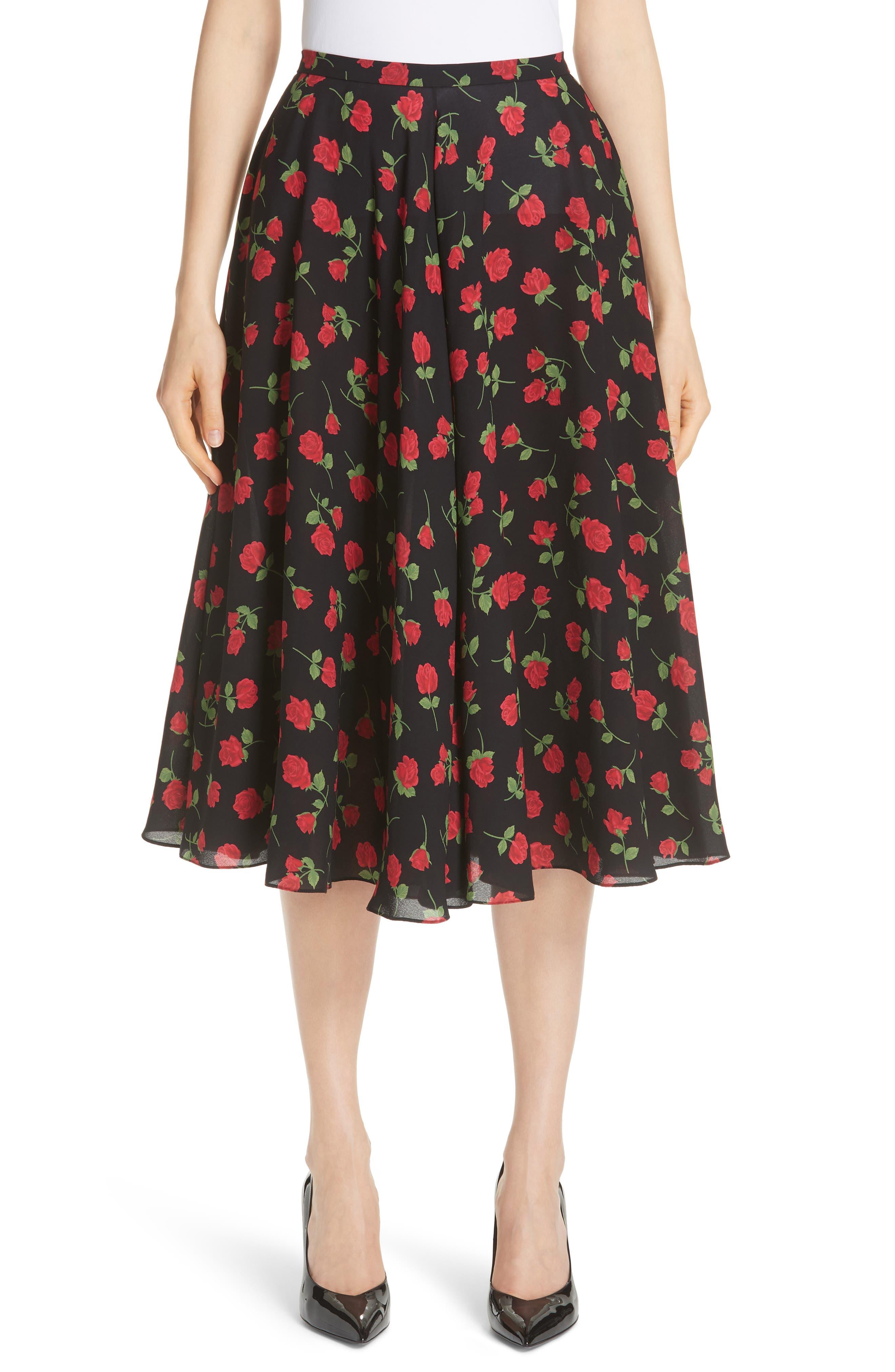 Rose Print Silk Georgette Dance Skirt,                             Main thumbnail 1, color,                             CRIMSON