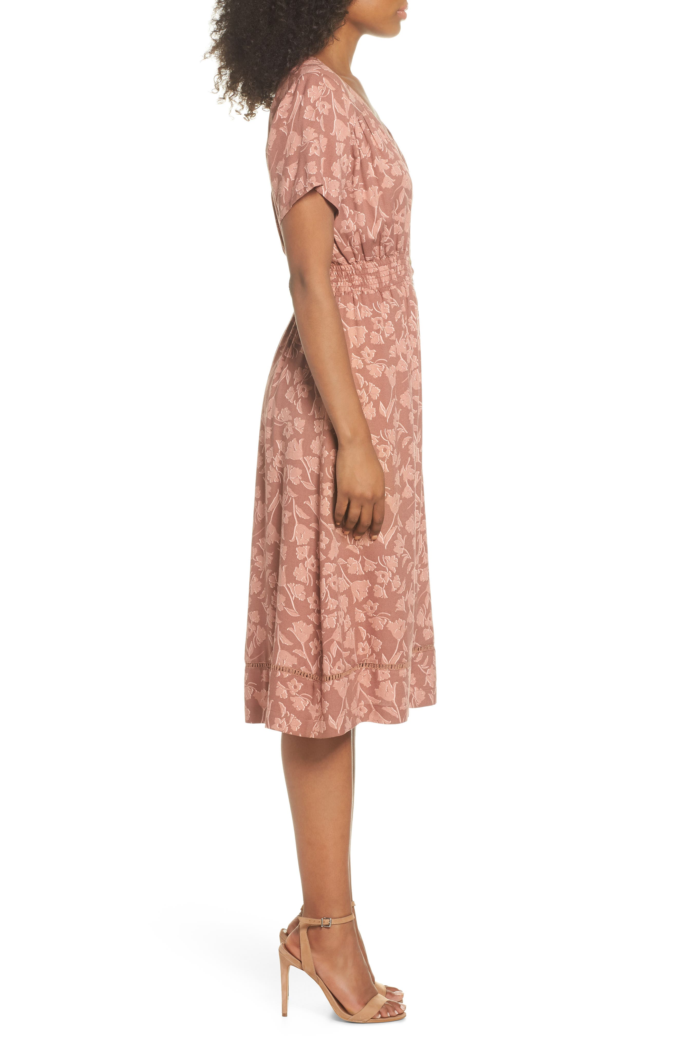 Farrell Floral Smock Waist Dress,                             Alternate thumbnail 3, color,