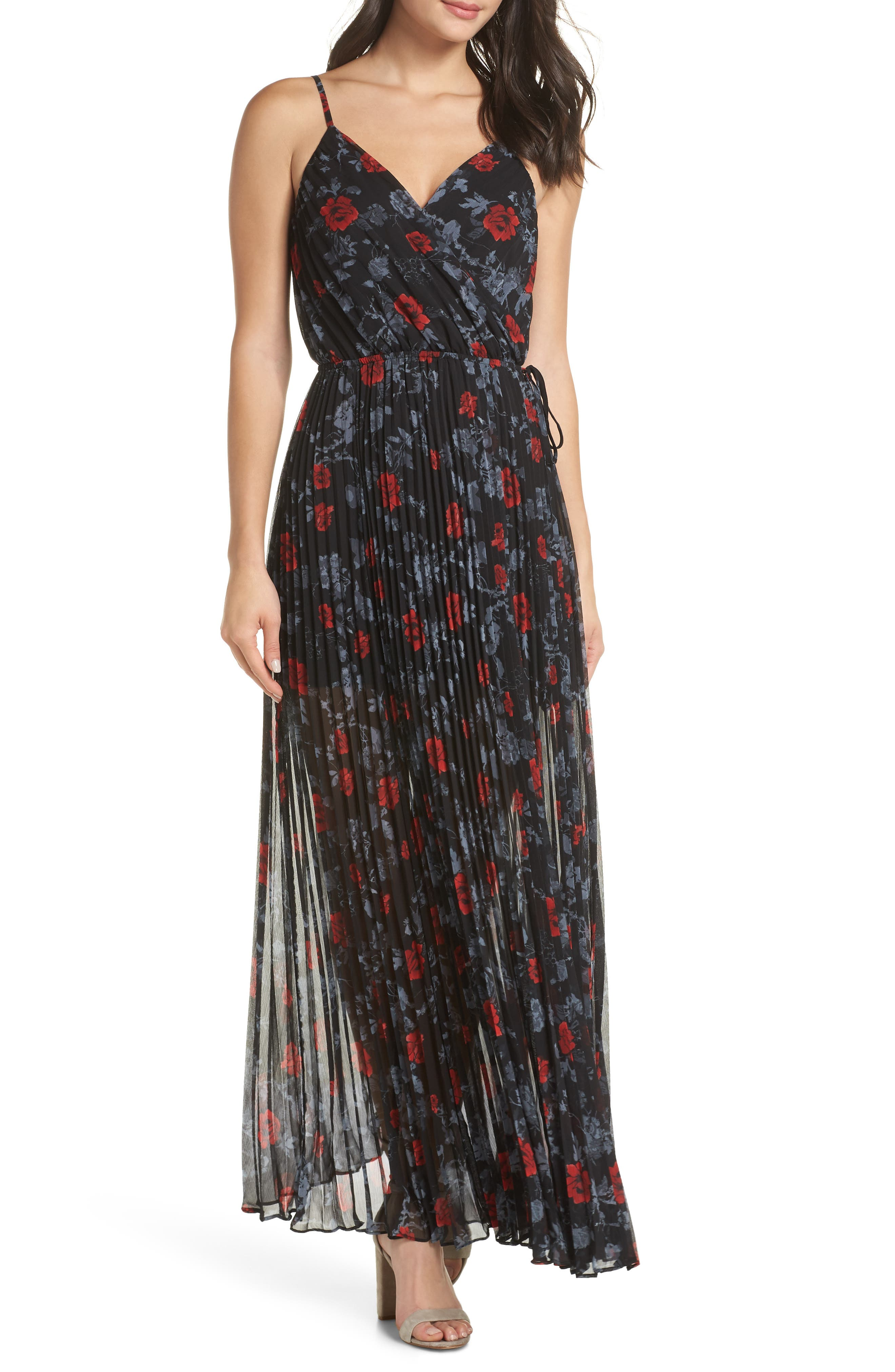 ALI & JAY Roses Are Red Floral Pleated Maxi Dress in Scarlet Roses