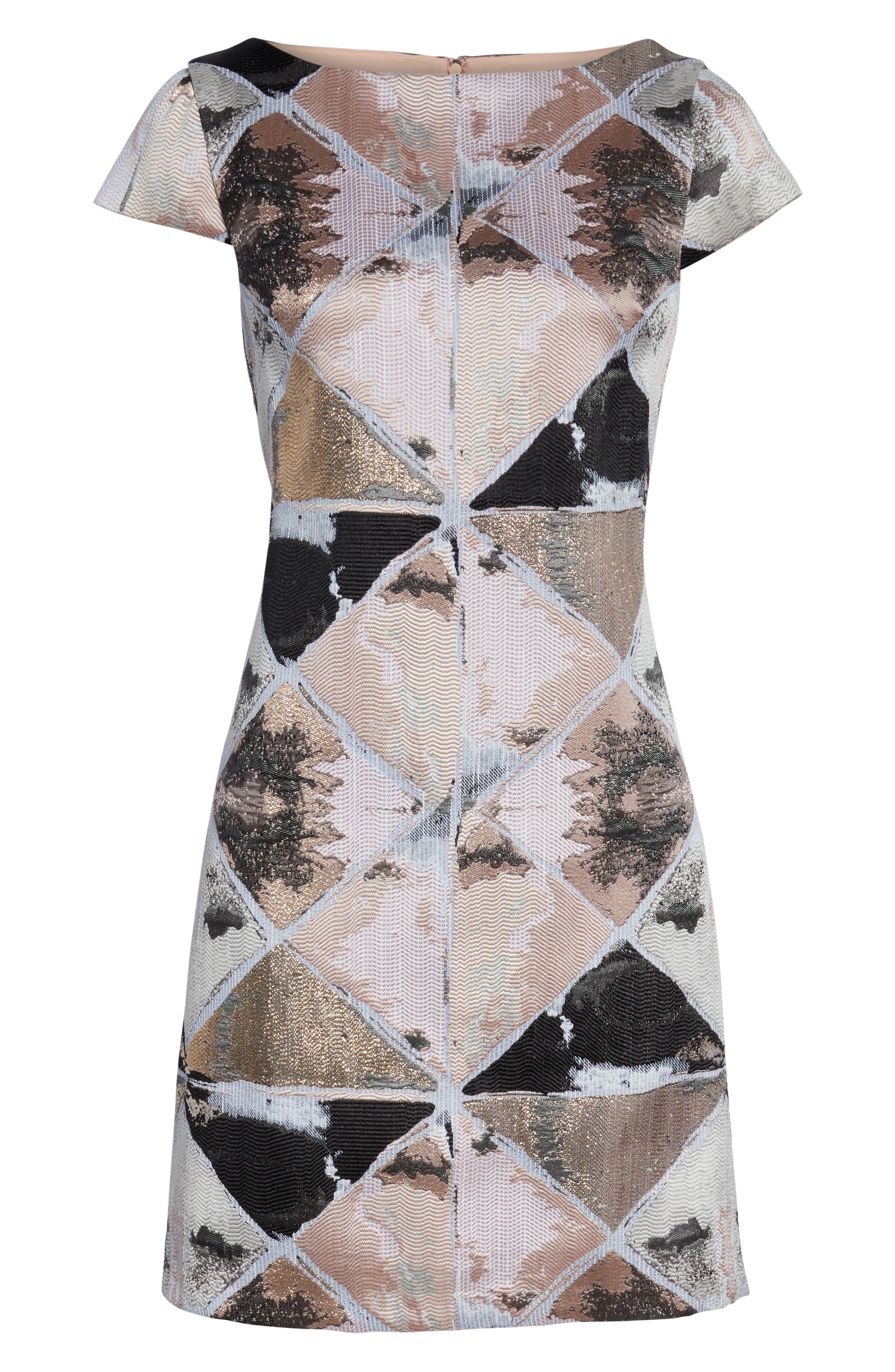 Jacquard Sheath Dress,                             Alternate thumbnail 7, color,                             BLUSH