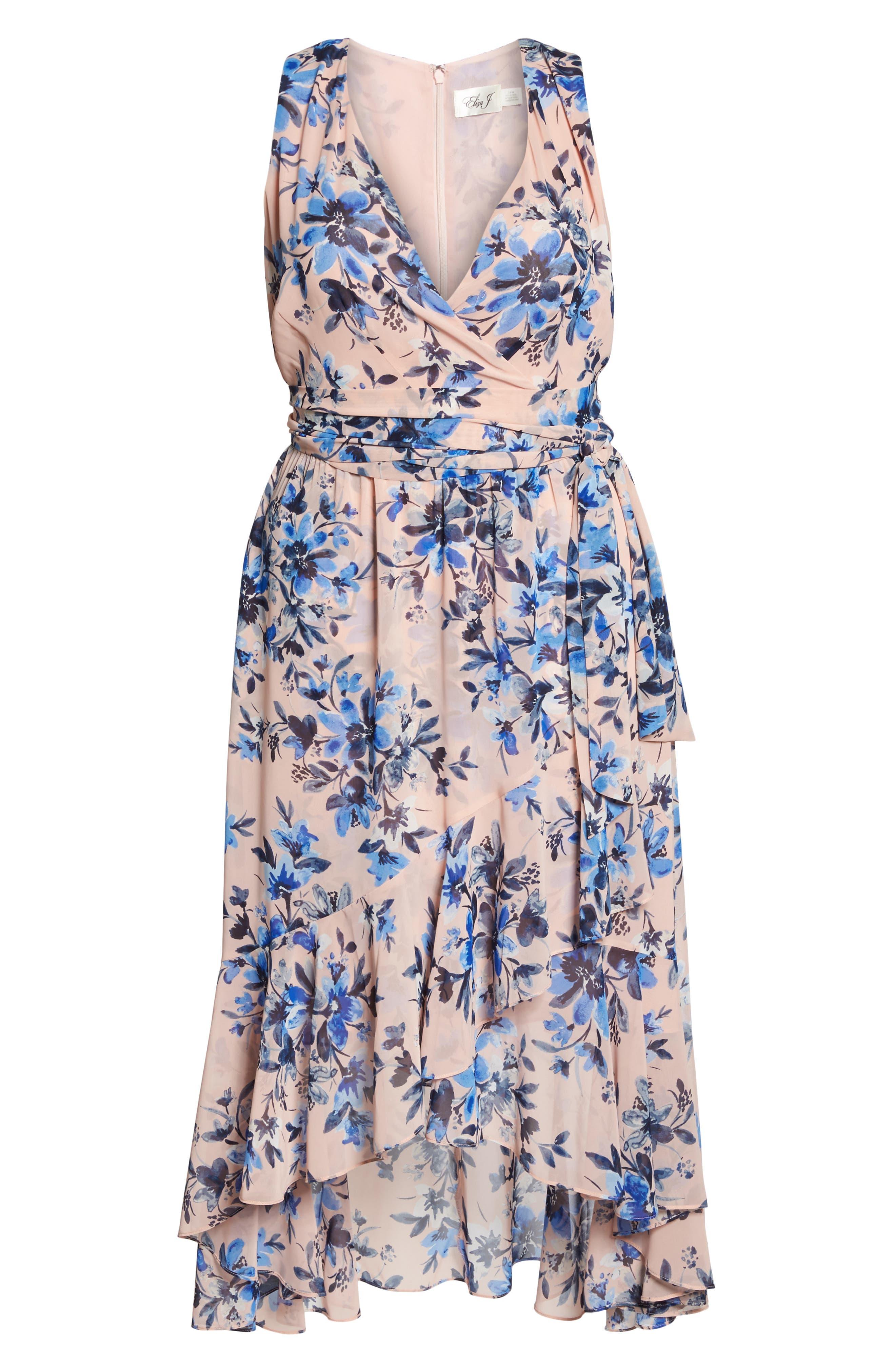 Floral Chiffon High/Low Dress,                             Alternate thumbnail 6, color,
