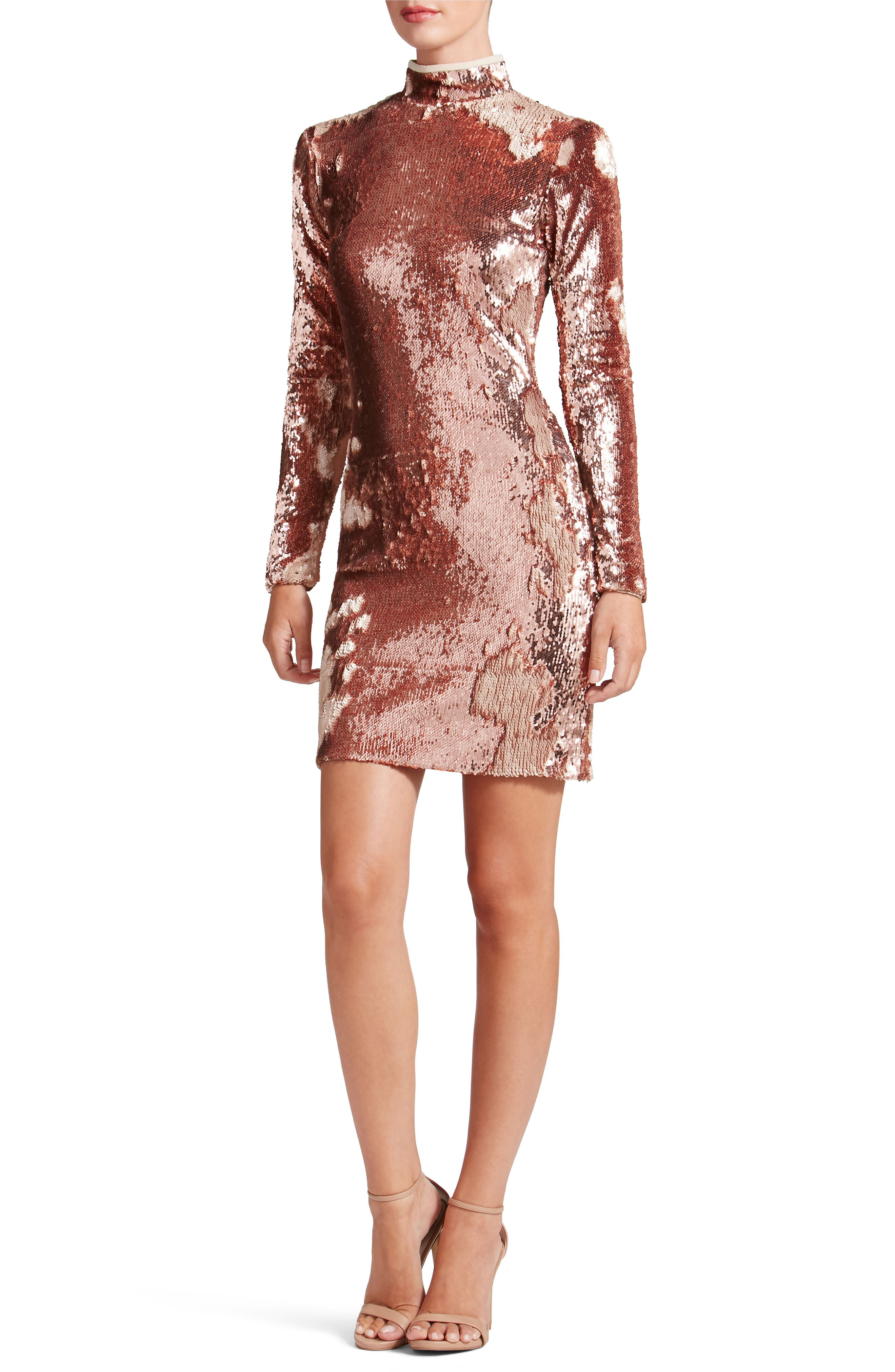 Katy Reversible Sequin Body-Con Dress,                             Alternate thumbnail 6, color,                             ROSE GOLD/ NUDE