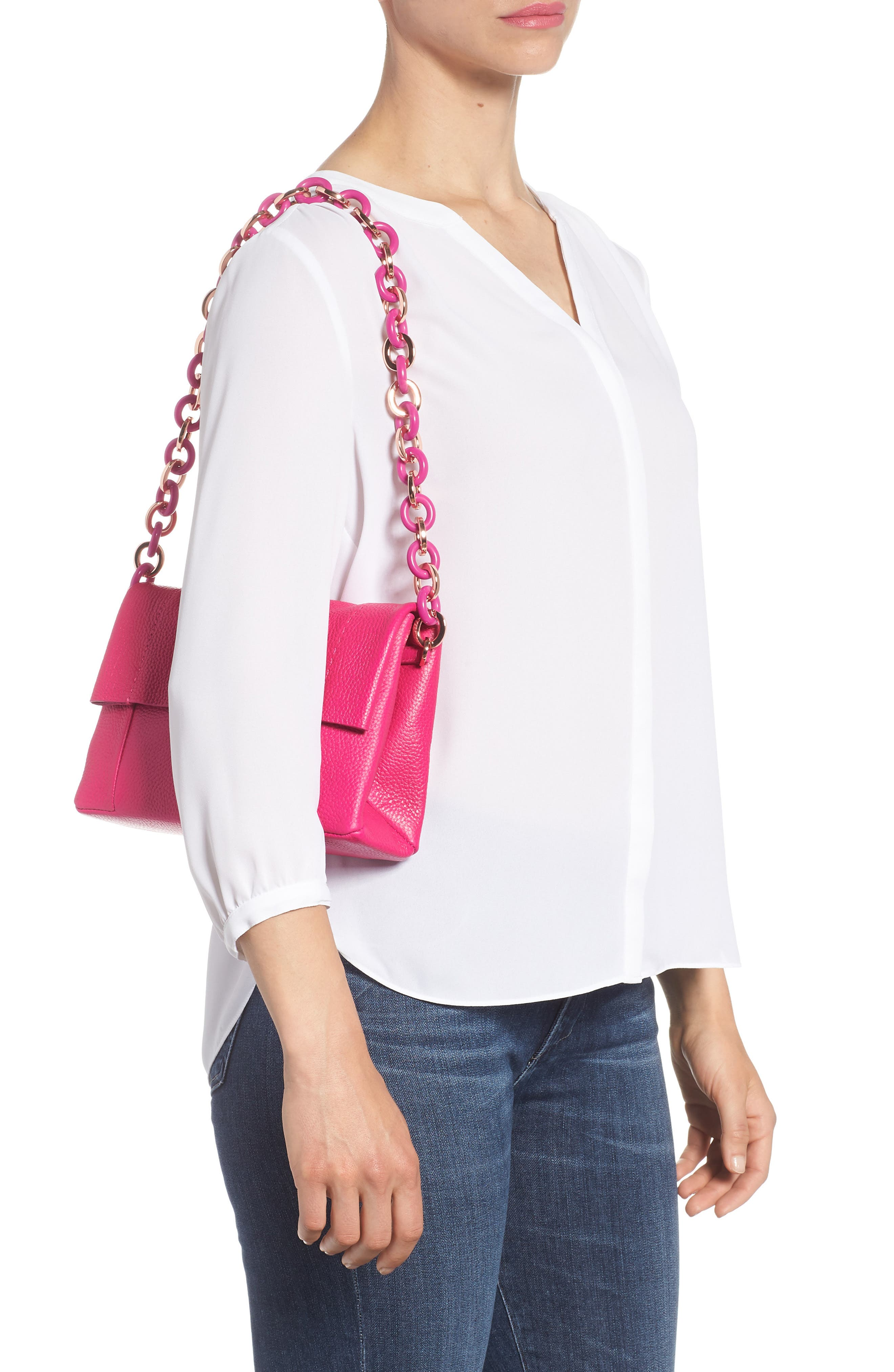 Ipomoea Leather Shoulder Bag,                             Alternate thumbnail 2, color,                             FUCHSIA