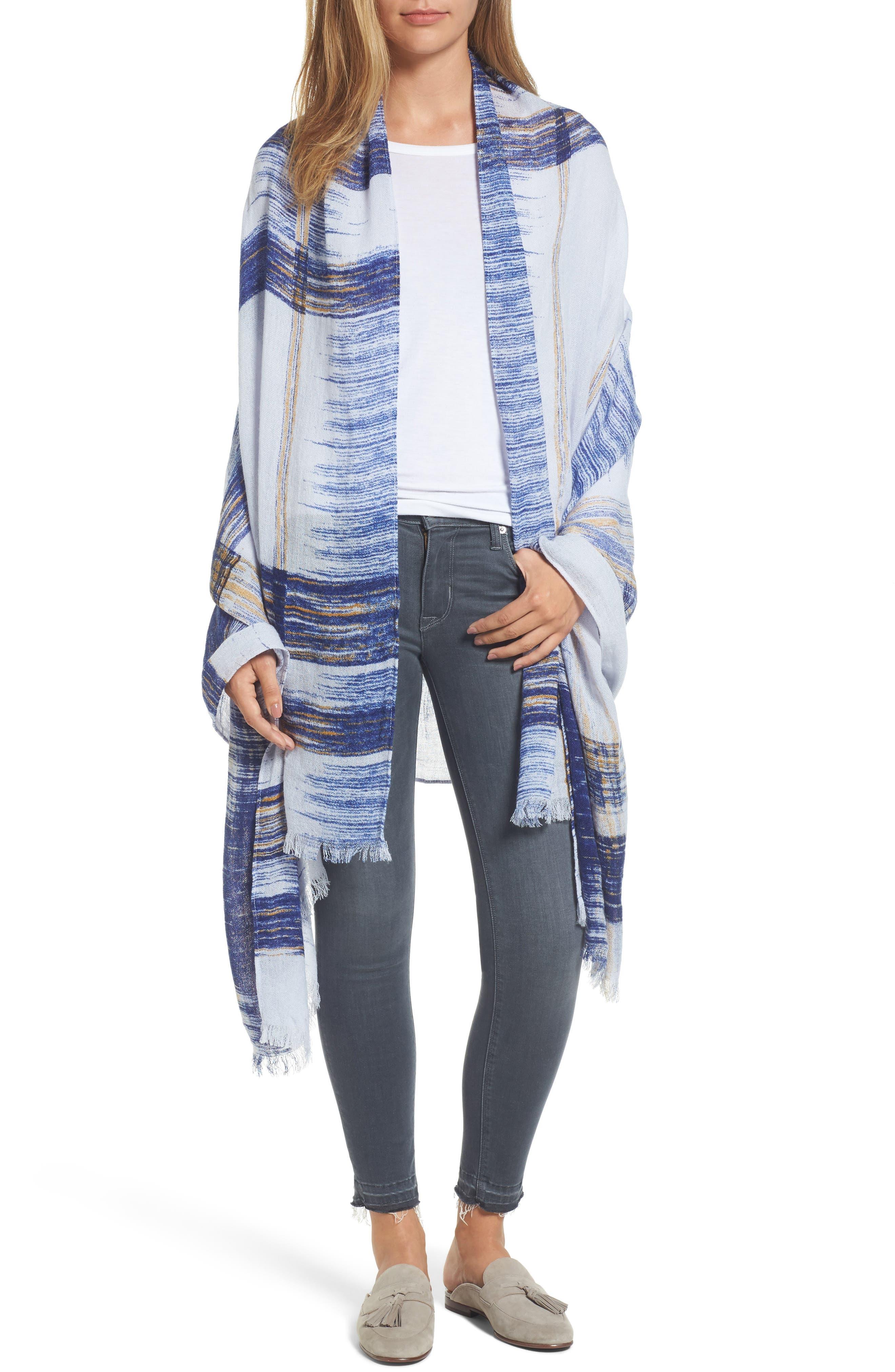 Ikat Plaid Dip Dye Wrap,                         Main,                         color, 420