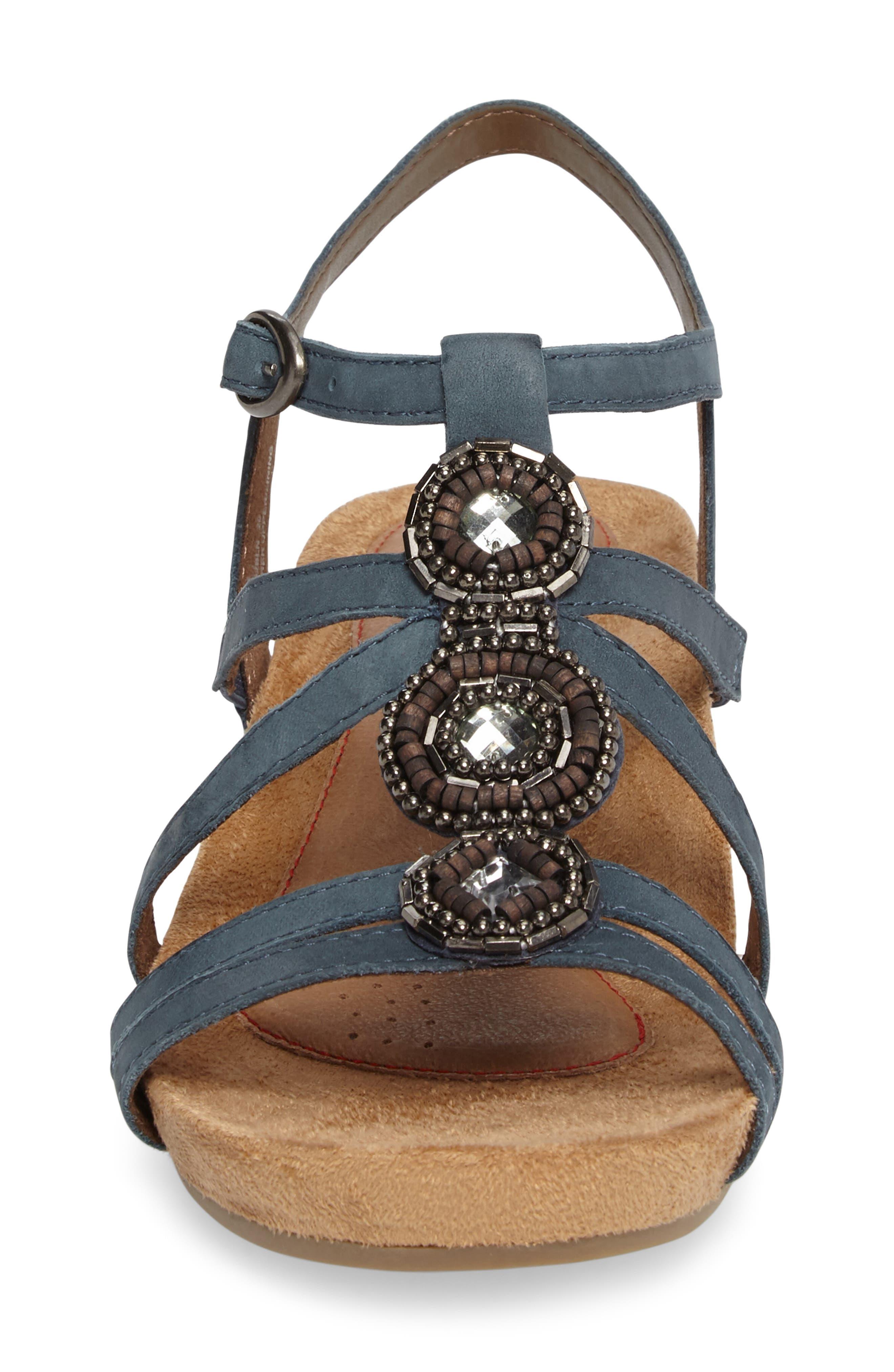 'Hannah' Leather Sandal,                             Alternate thumbnail 4, color,                             BLUE NUBUCK