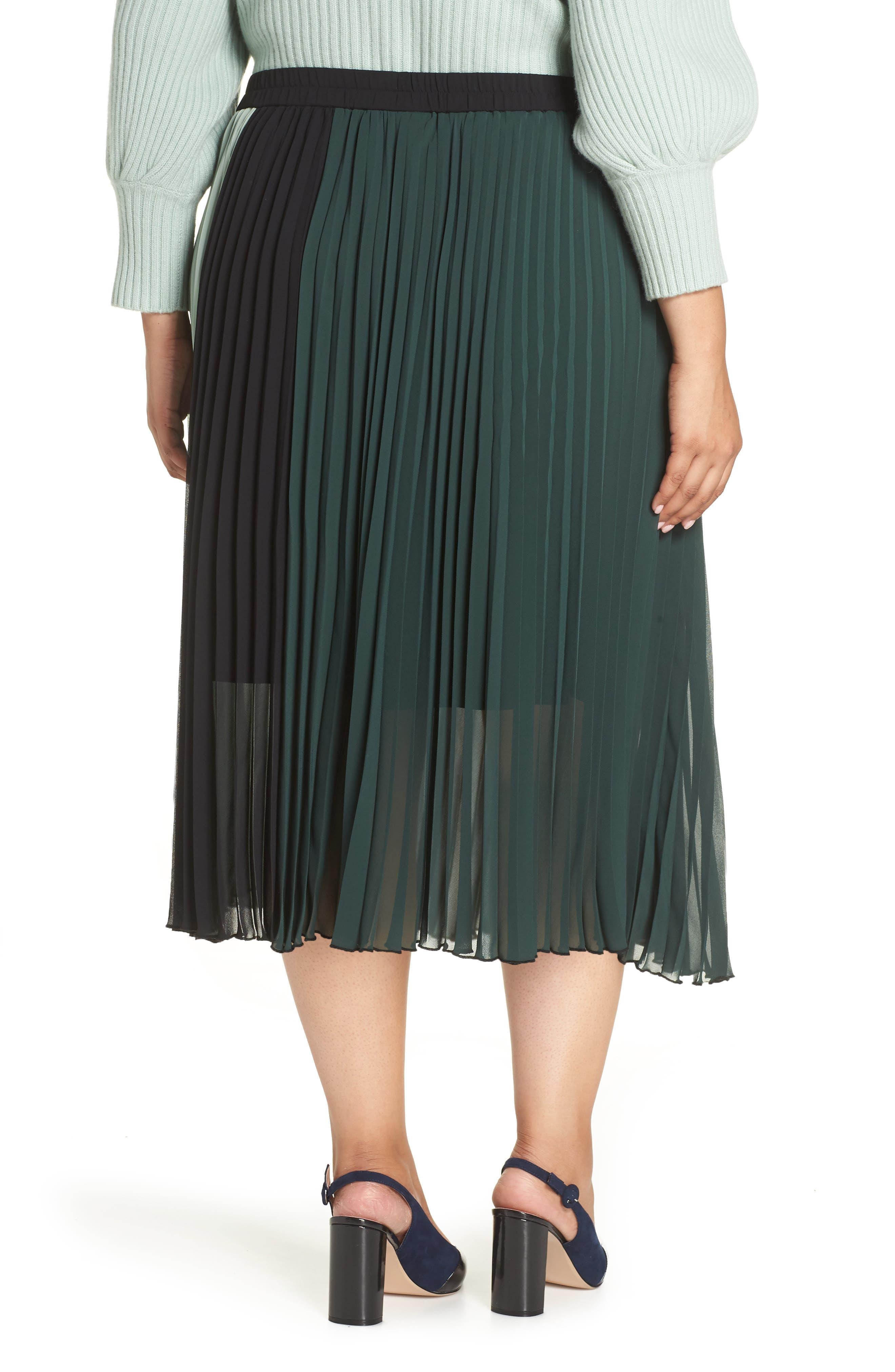 x Atlantic-Pacific Colorblock Pleated Midi Skirt,                             Alternate thumbnail 2, color,                             GREEN- BLACK COLORBLOCK