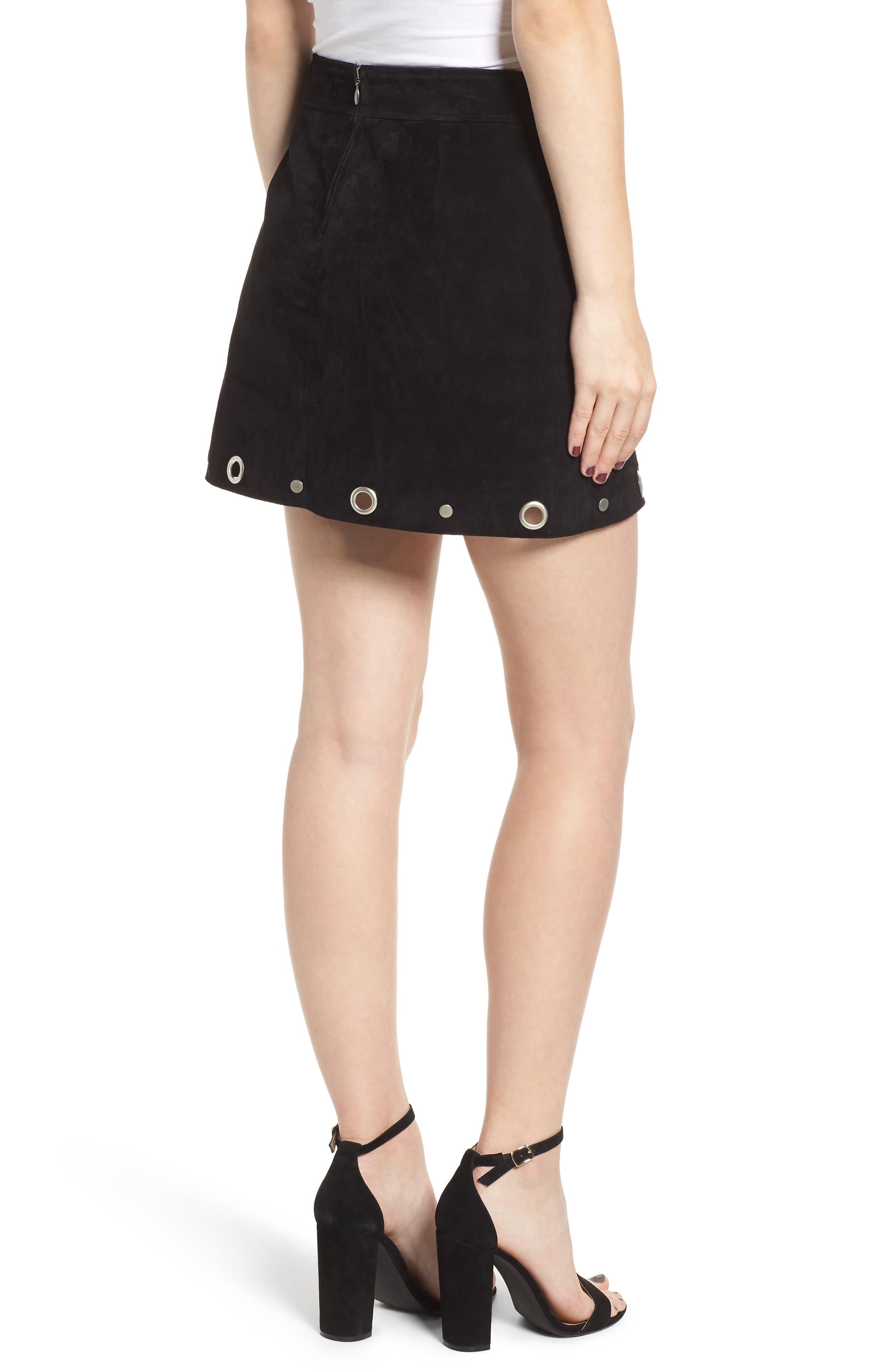 Grommet Suede Skirt,                             Alternate thumbnail 2, color,                             CASTLE BLACK