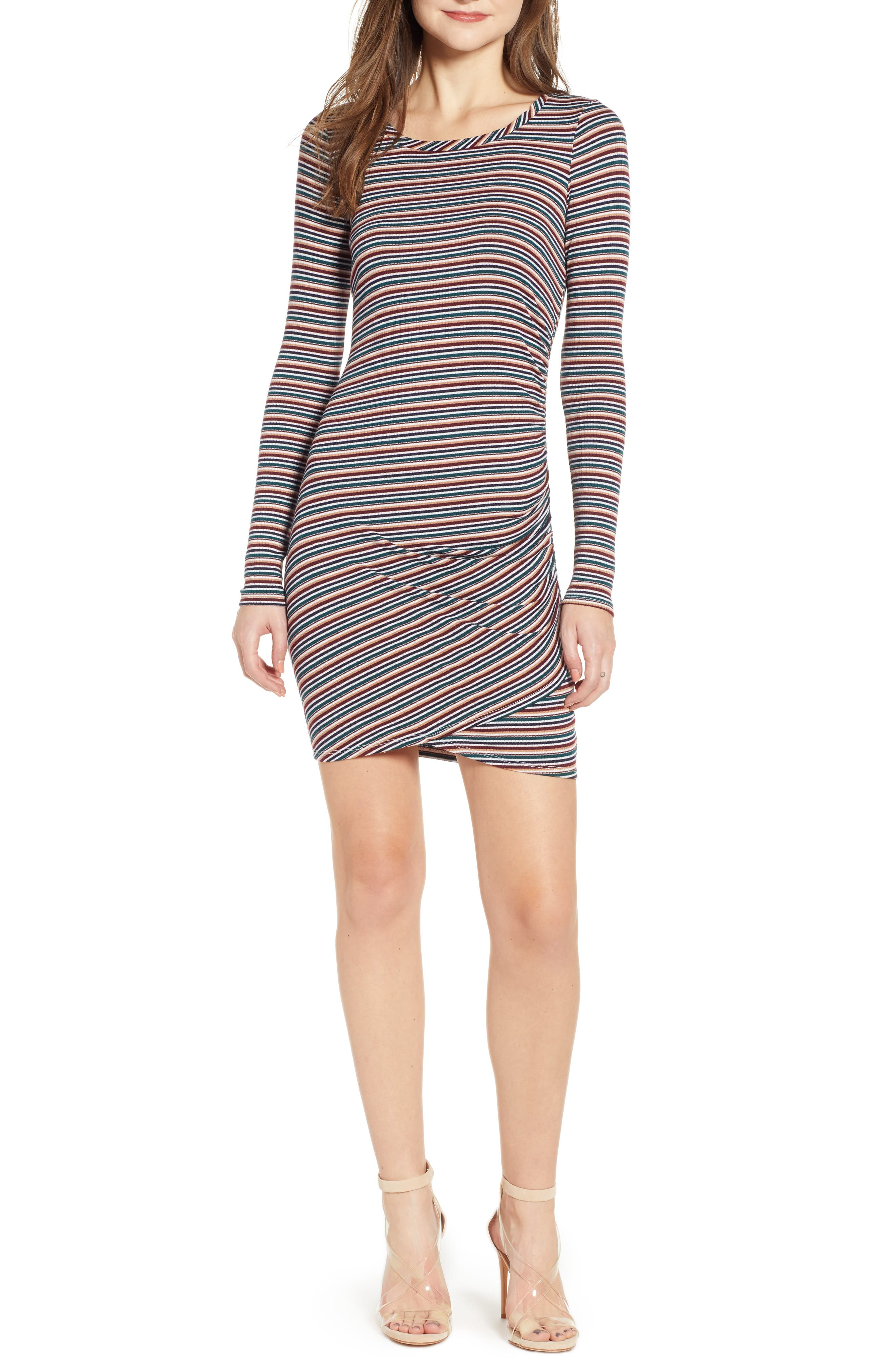 LOVE, FIRE Ruched Stripe Minidress, Main, color, 020