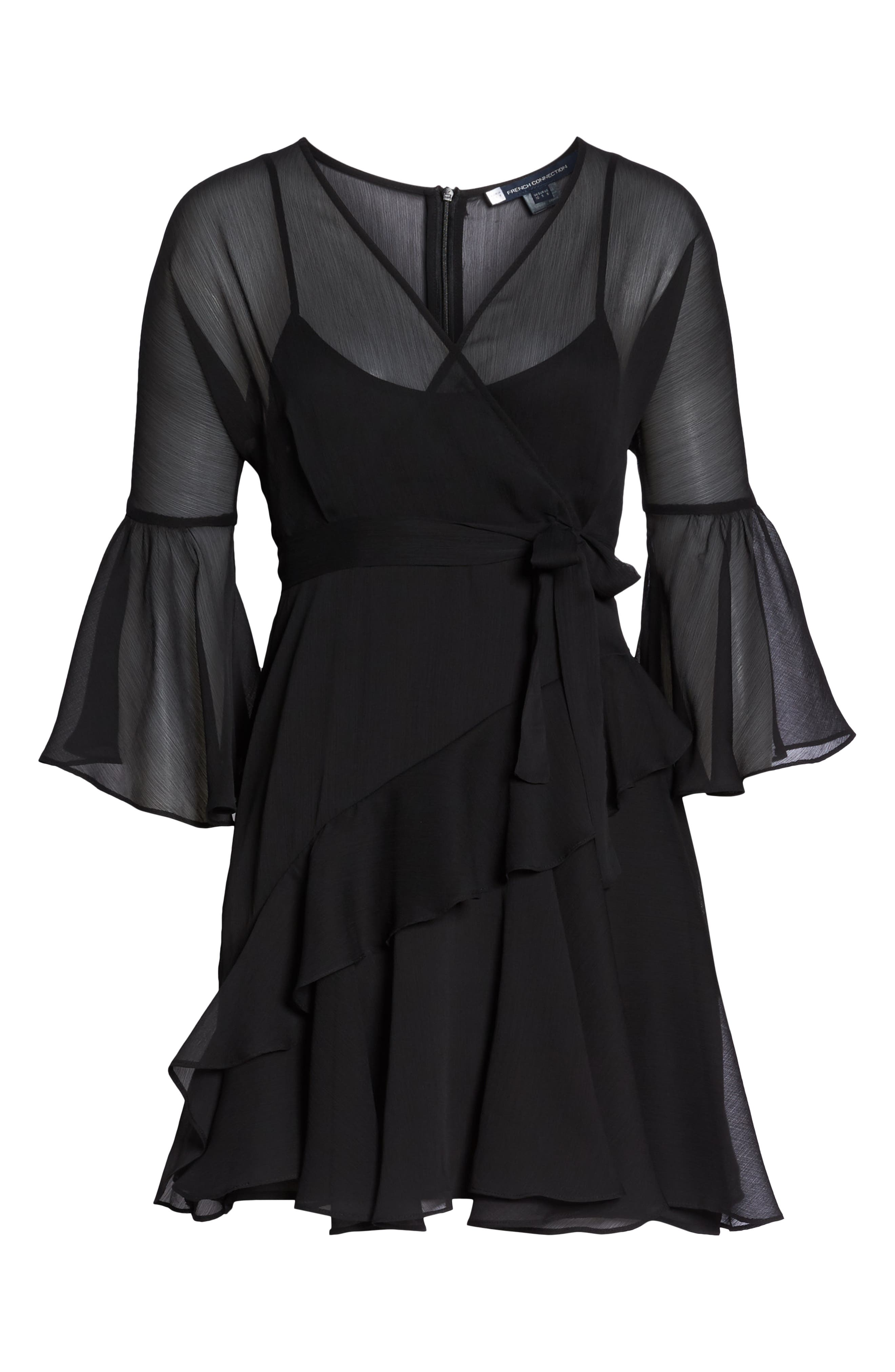 Hallie Ruffle Dress,                             Alternate thumbnail 6, color,                             BLACK