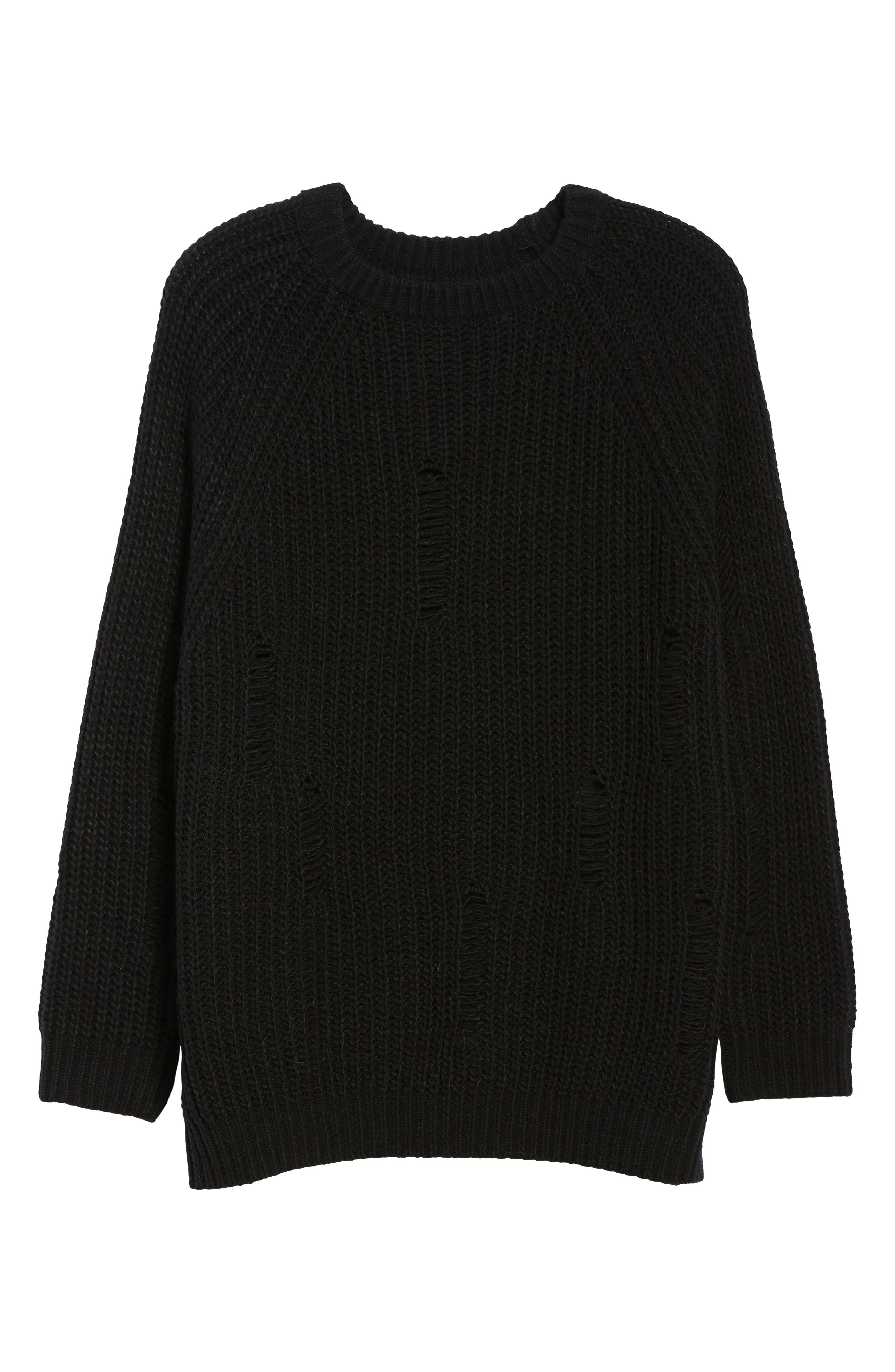Bishop + Young Simone Distressed Shaker Sweater,                             Alternate thumbnail 6, color,                             BLACK