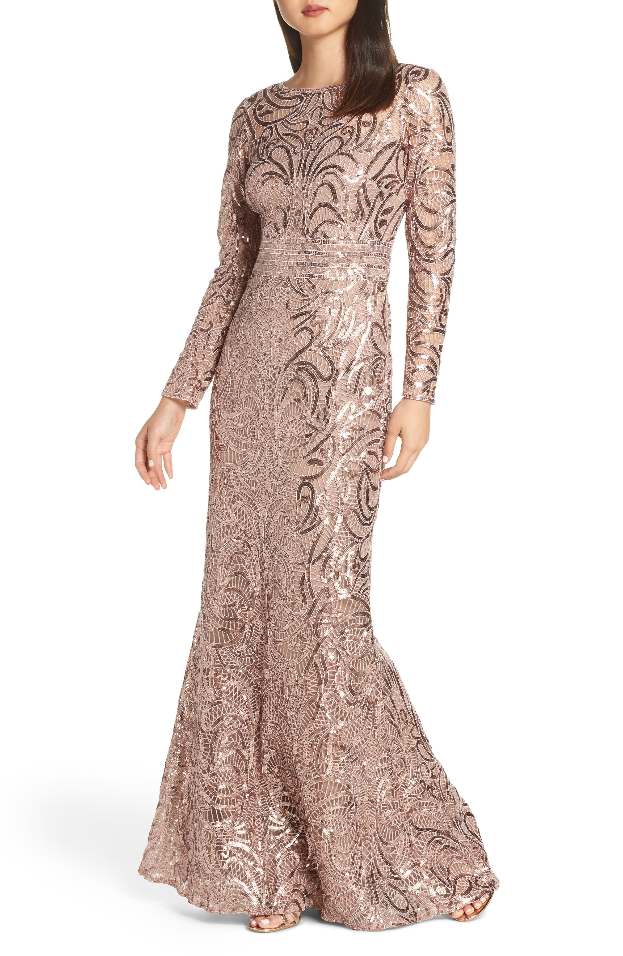 Sequin Crochet Mermaid Gown,                             Main thumbnail 1, color,                             DUSTY ROSE