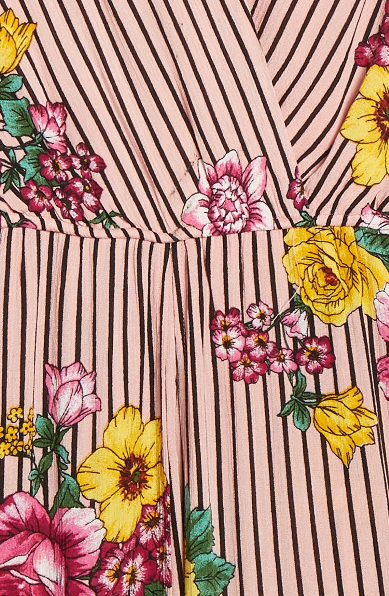 TRIXXI,                             Stripe Floral Jumpsuit,                             Alternate thumbnail 3, color,                             BLUSH