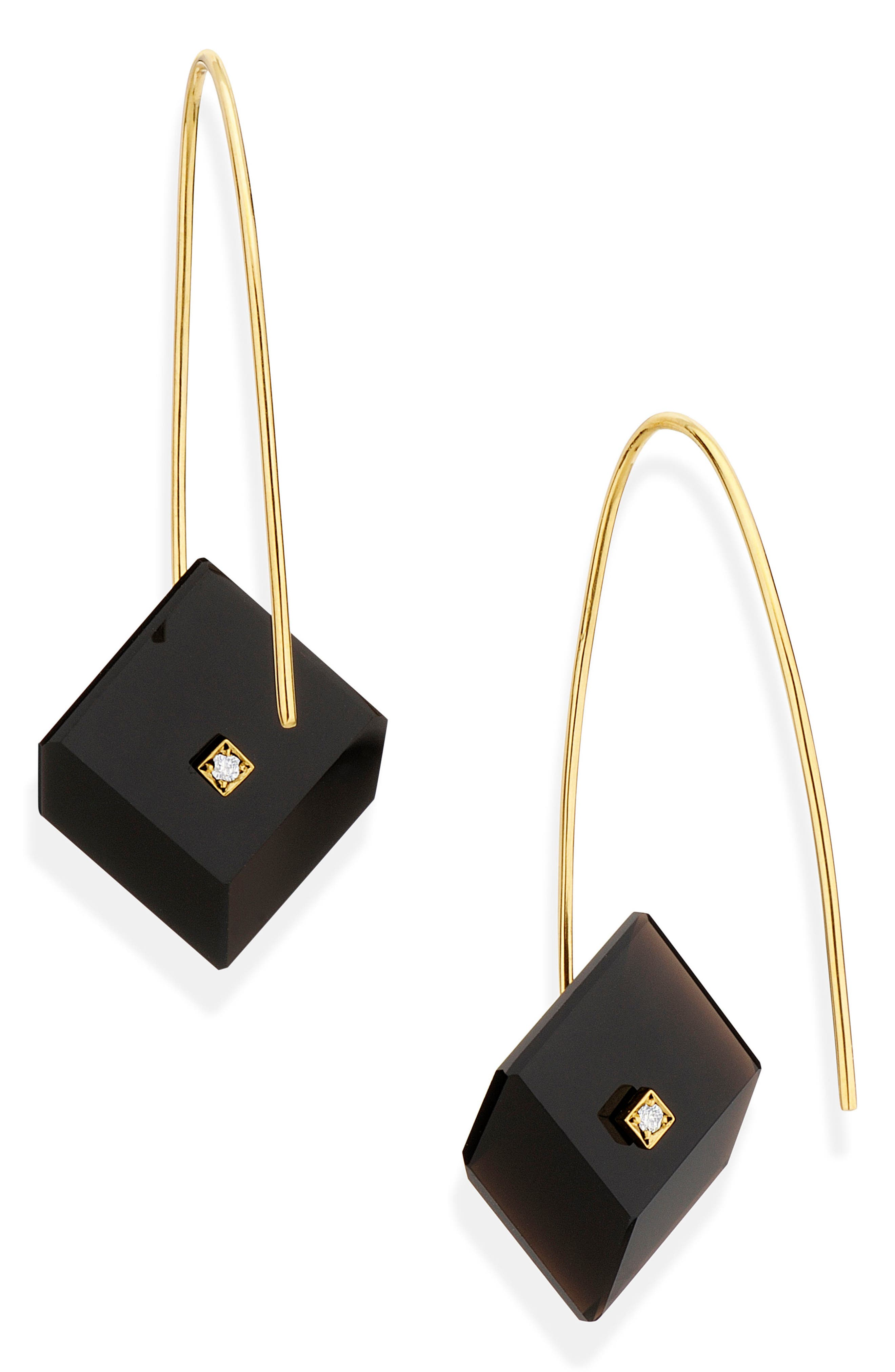 Reverse Fit Diamond Square Earrings,                             Main thumbnail 1, color,                             ONYX