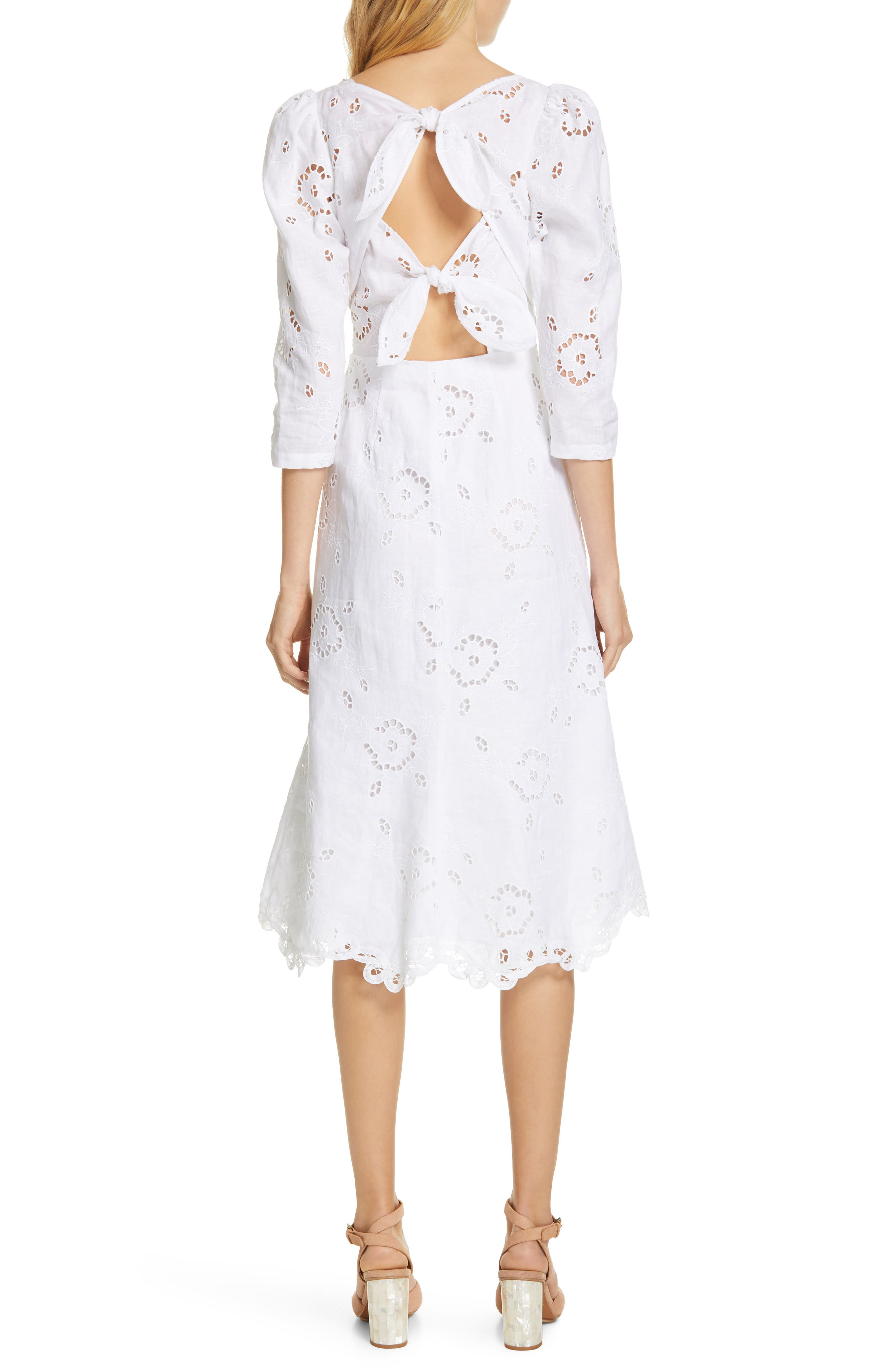 REBECCA TAYLOR,                             Terri Embroidered A-Line Dress,                             Alternate thumbnail 2, color,                             MILK