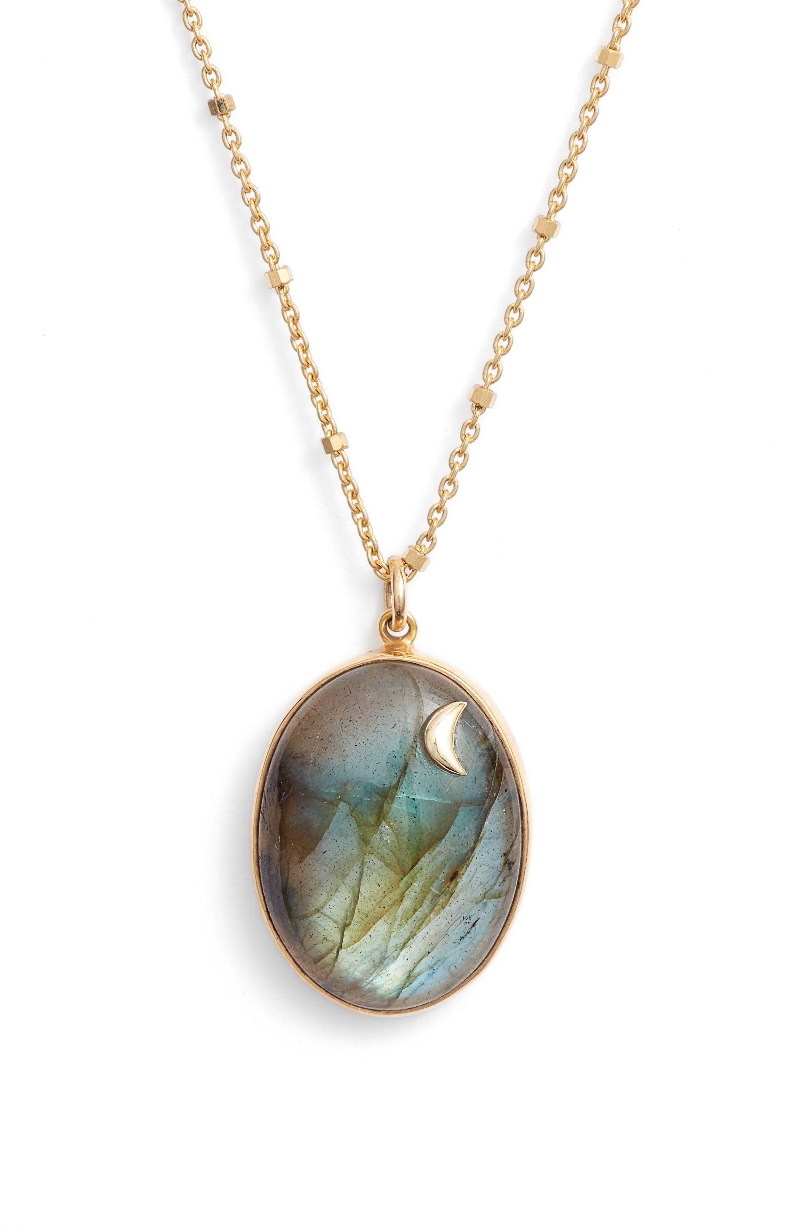 ARGENTO VIVO Moon Labradorite Pendant Necklace, Main, color, 710