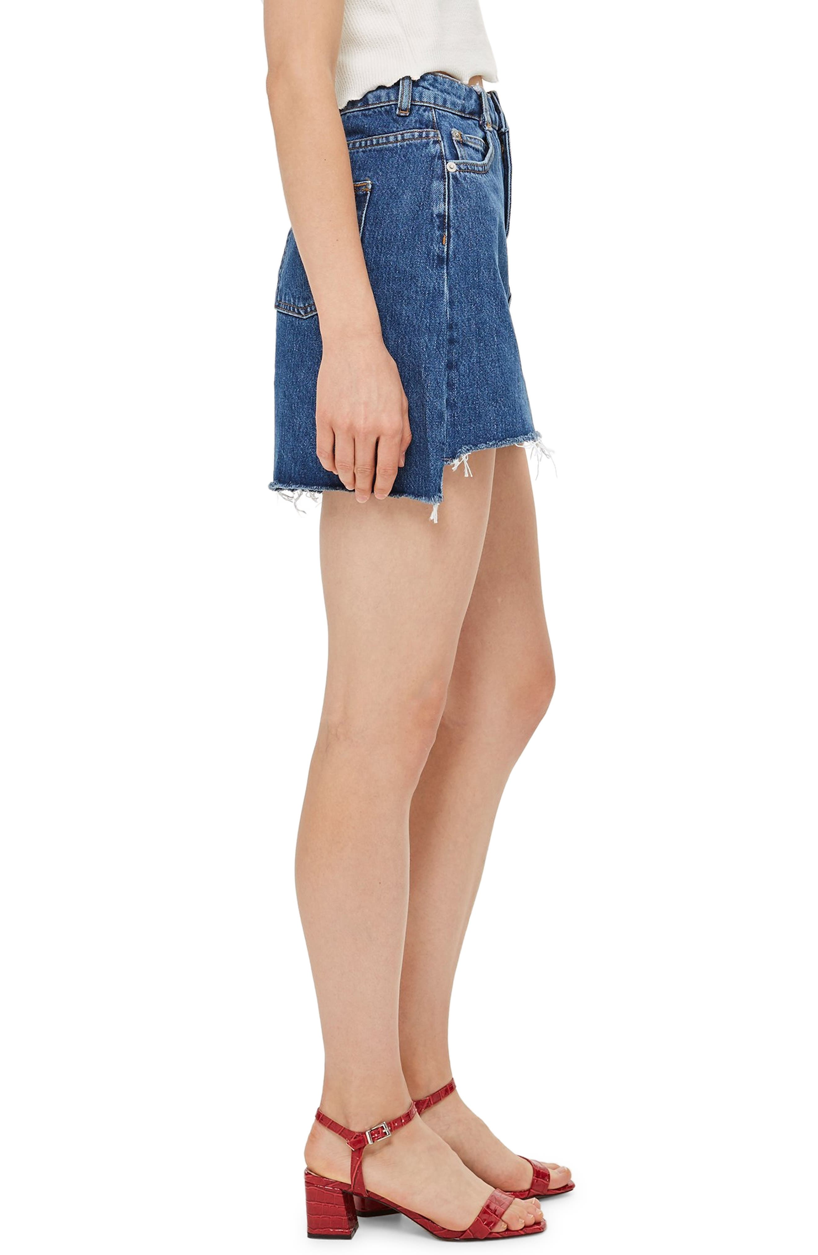 TOPSHOP,                             Step Hem Denim Skirt,                             Alternate thumbnail 4, color,                             MID DENIM