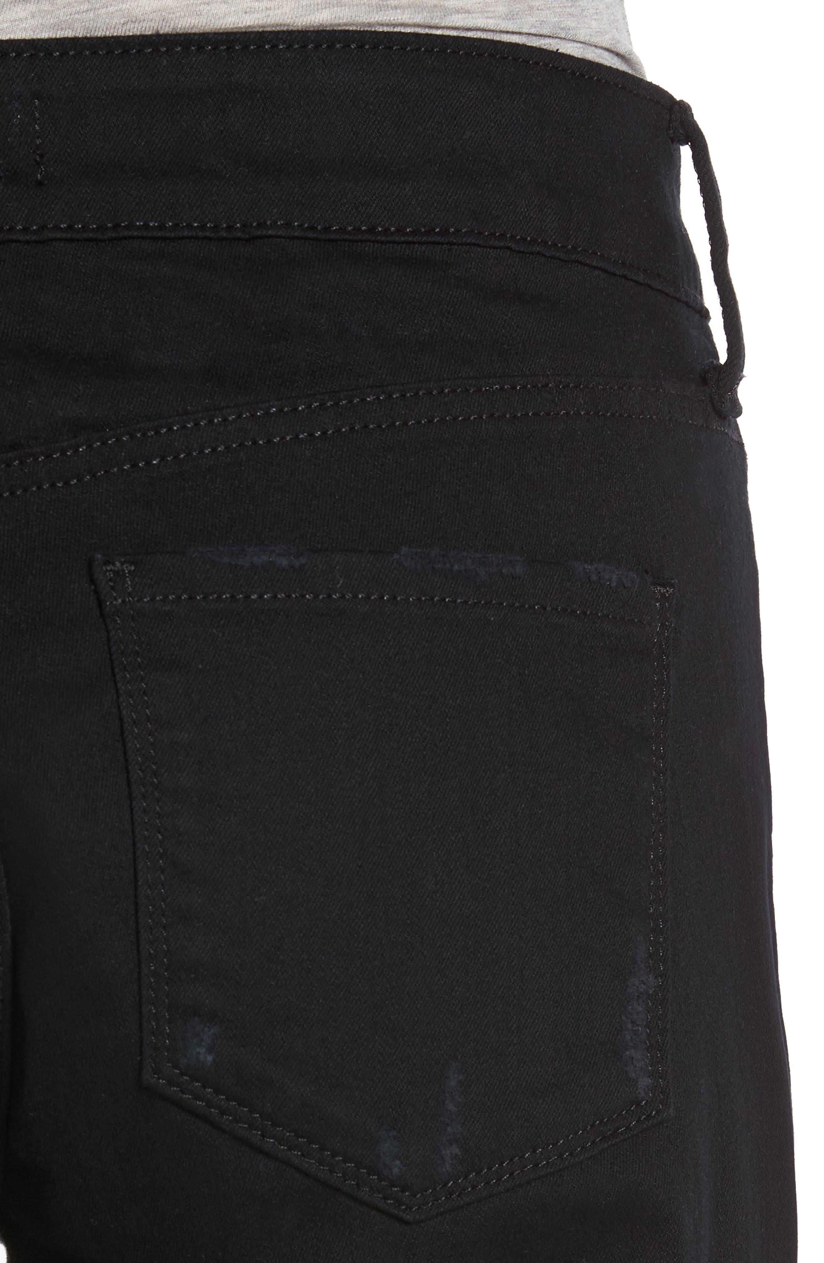 Jessica Destructed Stretch Boyfriend Jeans,                             Alternate thumbnail 4, color,                             001