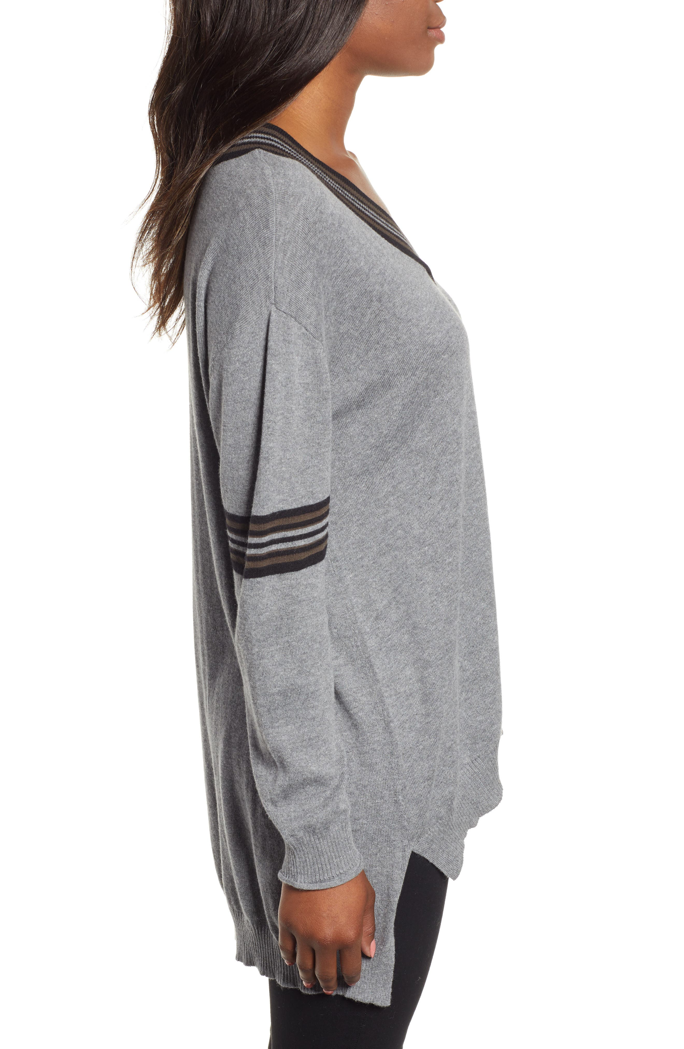 High/Low Cotton Blend Sweater,                             Alternate thumbnail 3, color,                             HG- HEATHER GREY