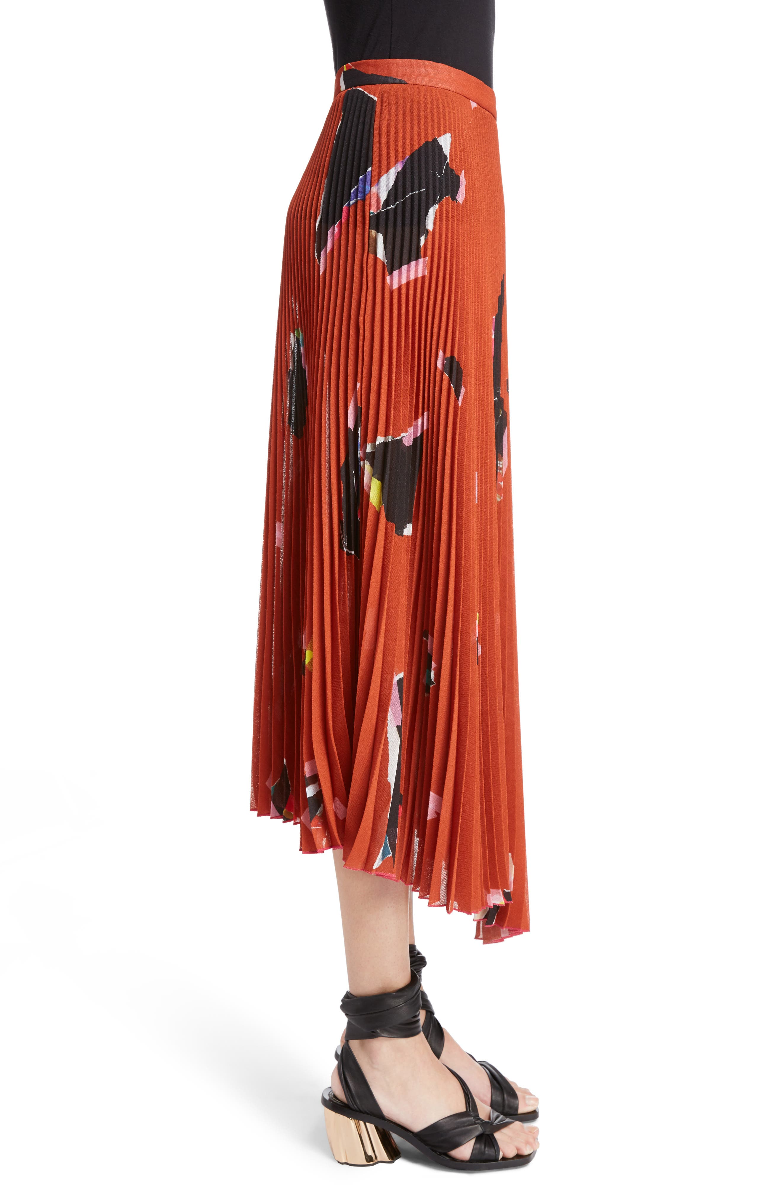 Asymmetrical Pleated Skirt,                             Alternate thumbnail 3, color,                             800