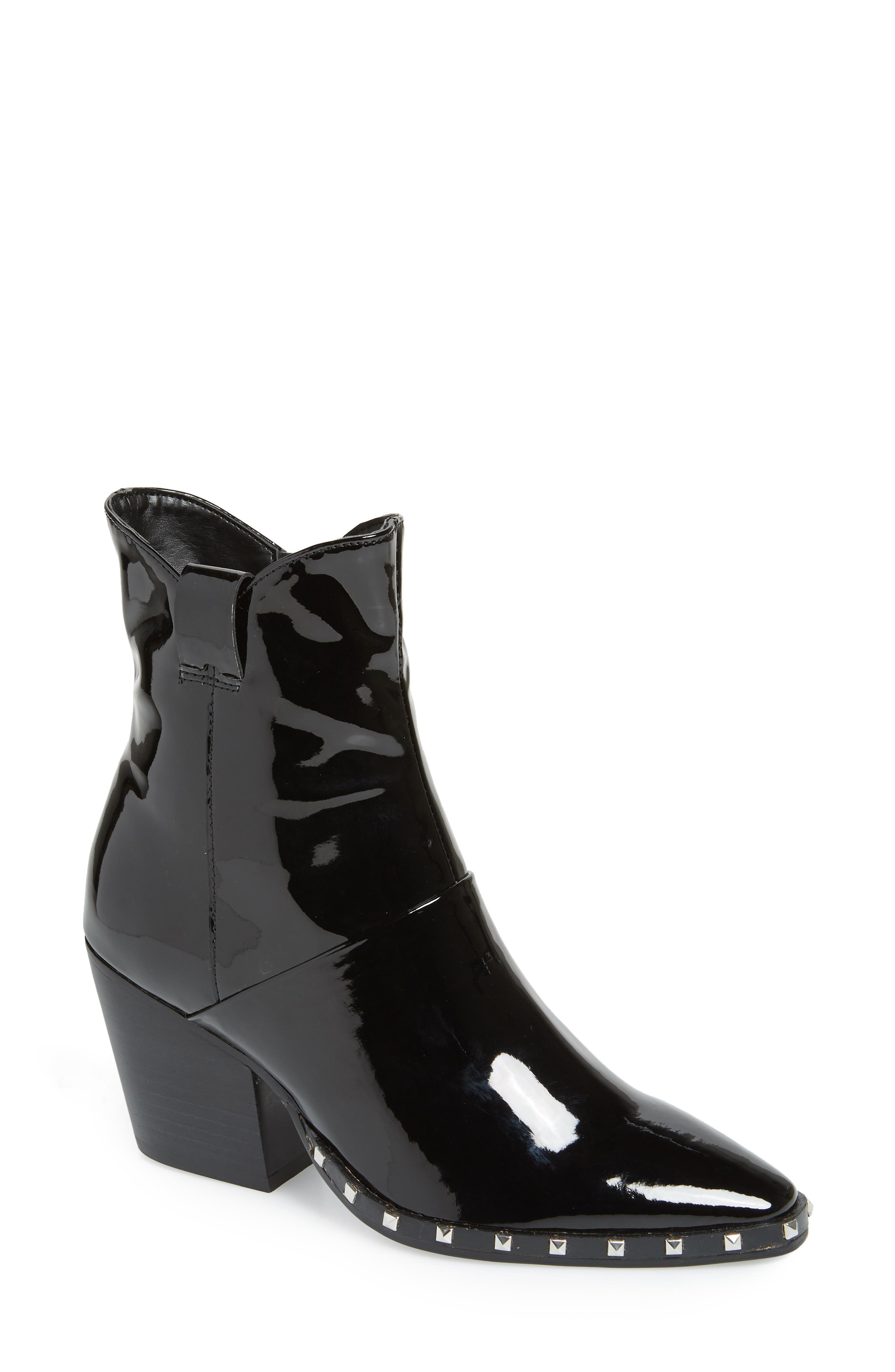 Haines Studded Bootie,                             Main thumbnail 1, color,                             MIDNIGHT PATENT LEATHER
